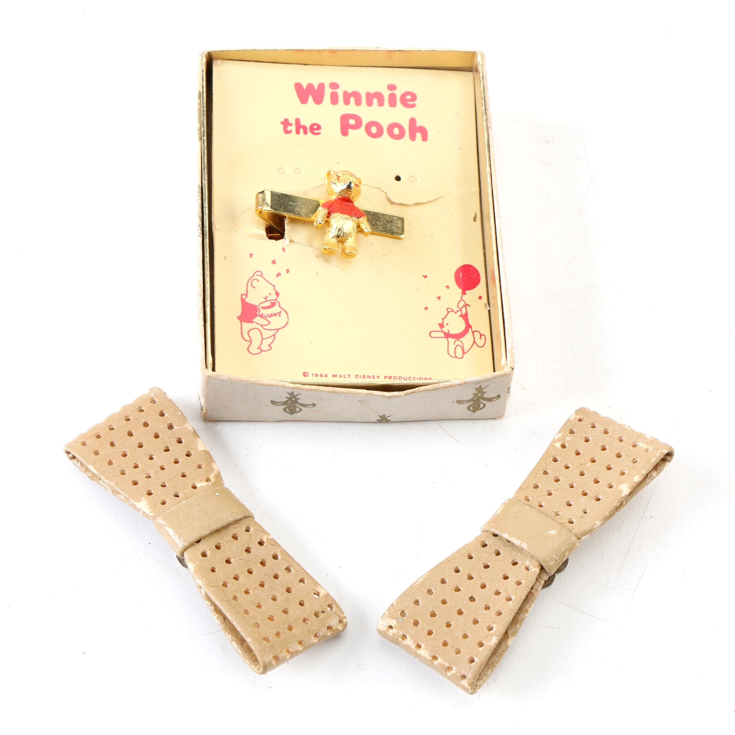 Vintage Winnie the Pooh Enameled Tie Clip and Punched Faux Leather Shoe Clips