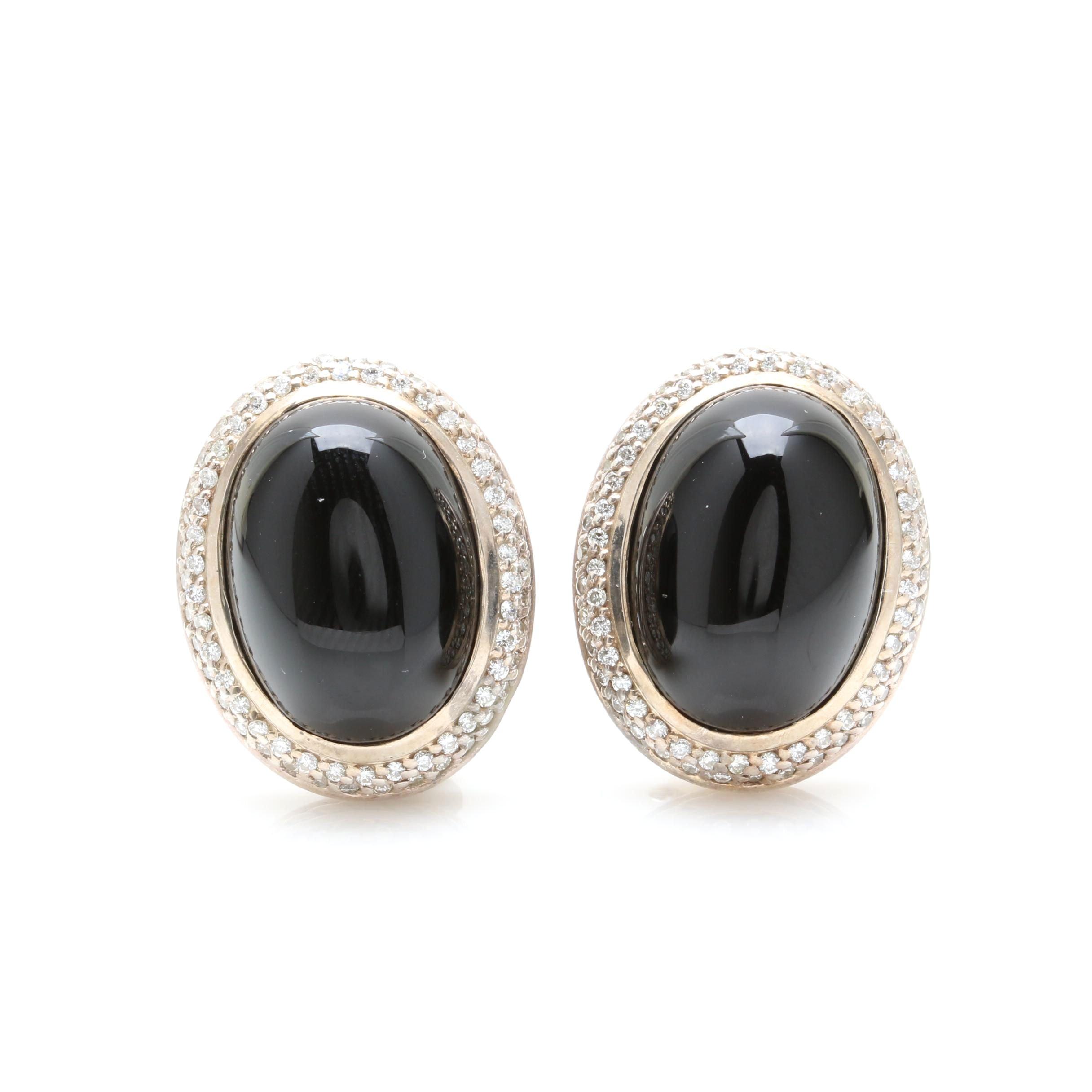 David Yurman Sterling Silver Black Onyx and 1.50 CTW Diamond Earrings
