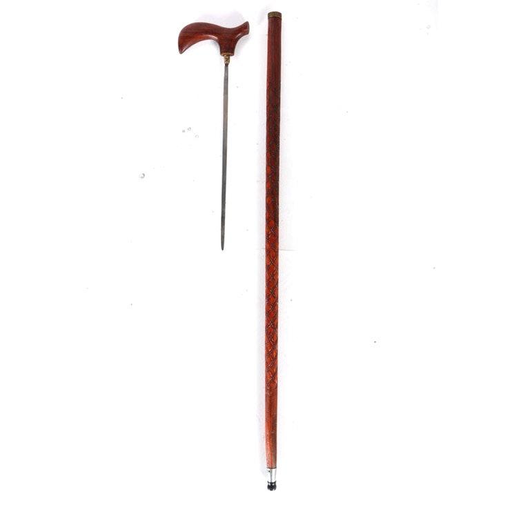 Carved Wooden Sword Cane