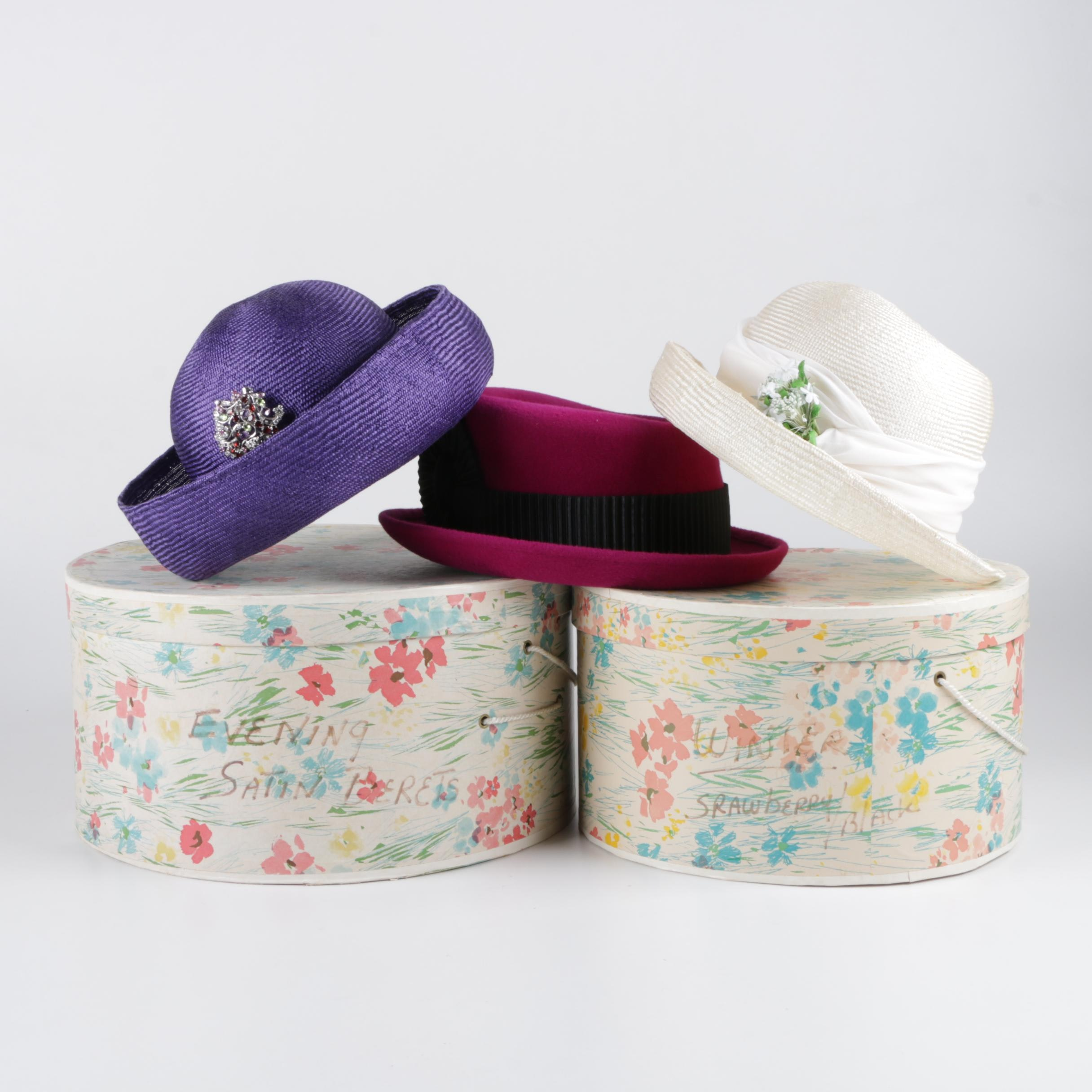 Women's Hats and Hatboxes Including Eric Javits and Henri Bendel