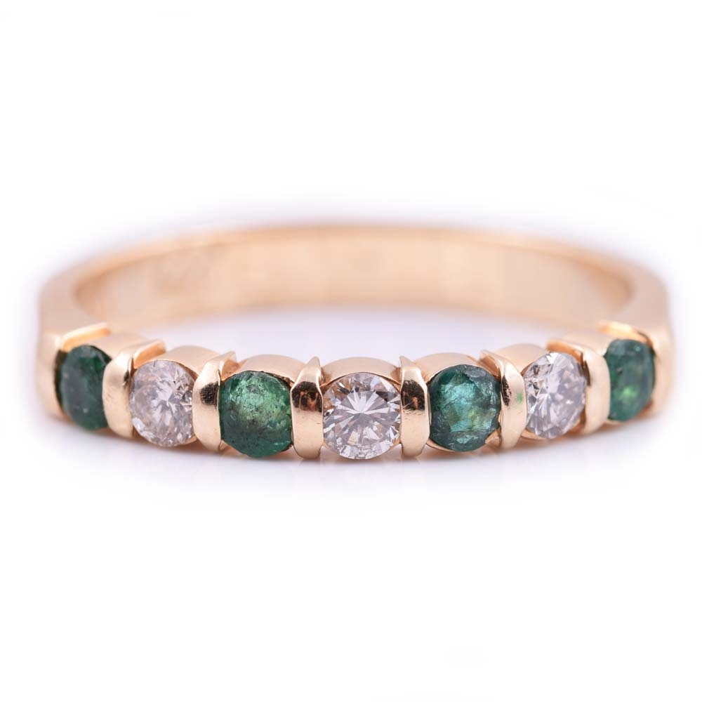 14K Yellow Gold, Emerald, and Diamond Band