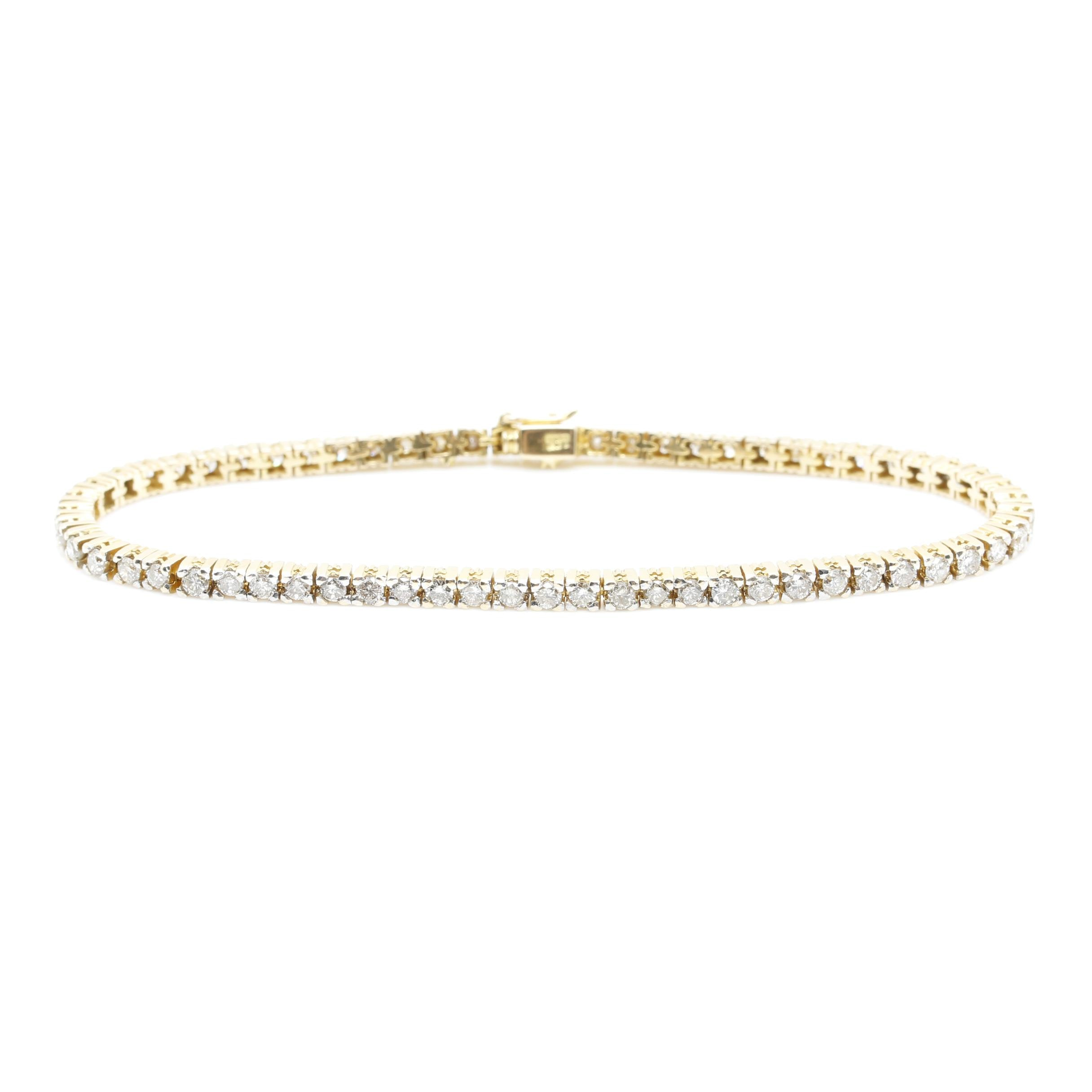 14K Yellow Gold 2.55 CTW Diamond Tennis Bracelet
