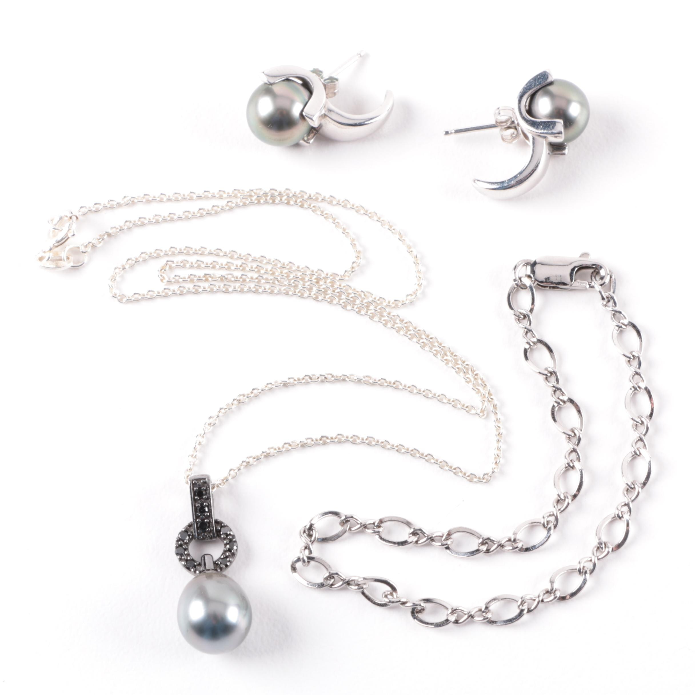 Selection of Sterling Silver Cultured Pearl Earrings, Necklace and Bracelet