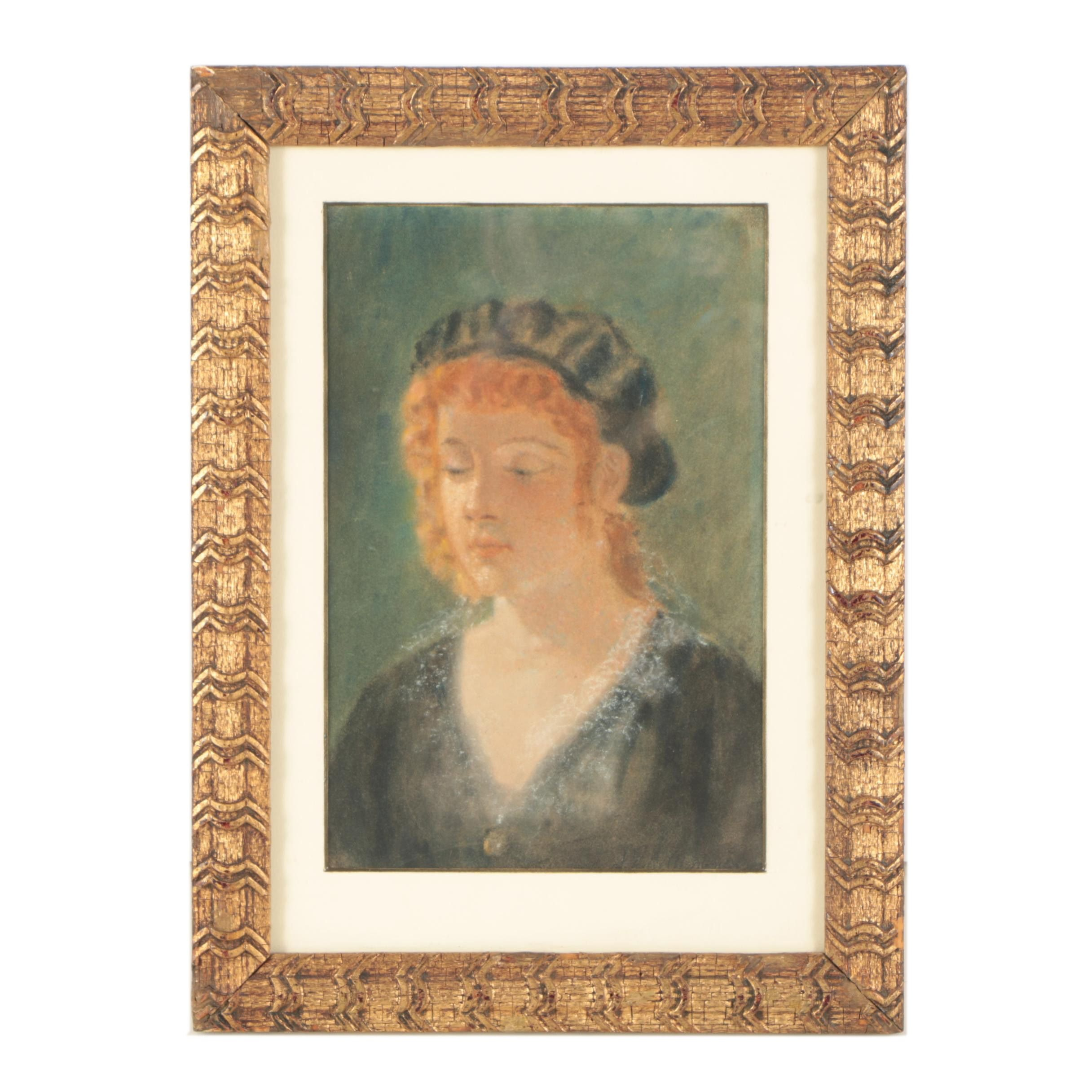 Pastel Portrait of a Red-Headed Figure