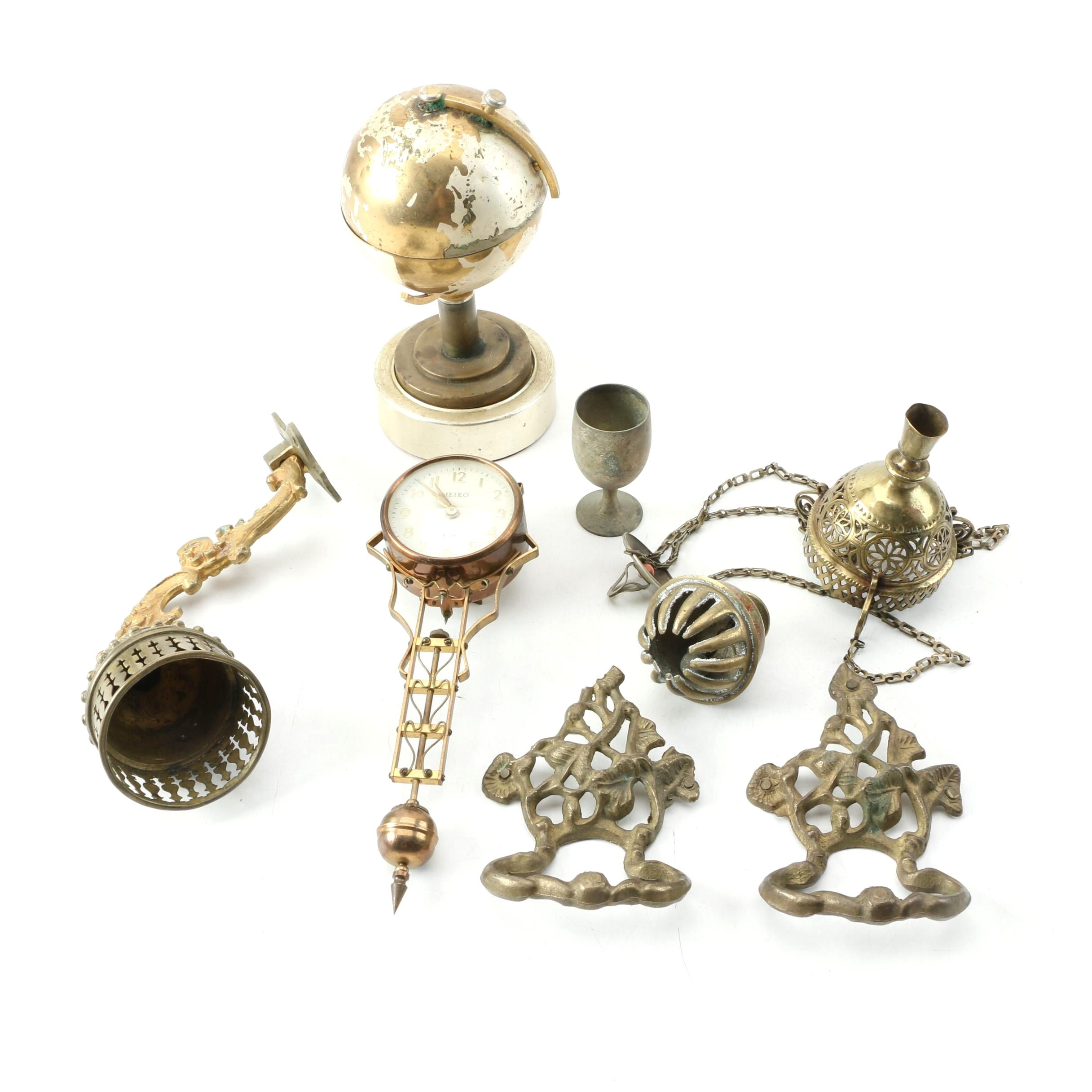 Brass Globe Cigarette Holder, Eight Day Clock and Others