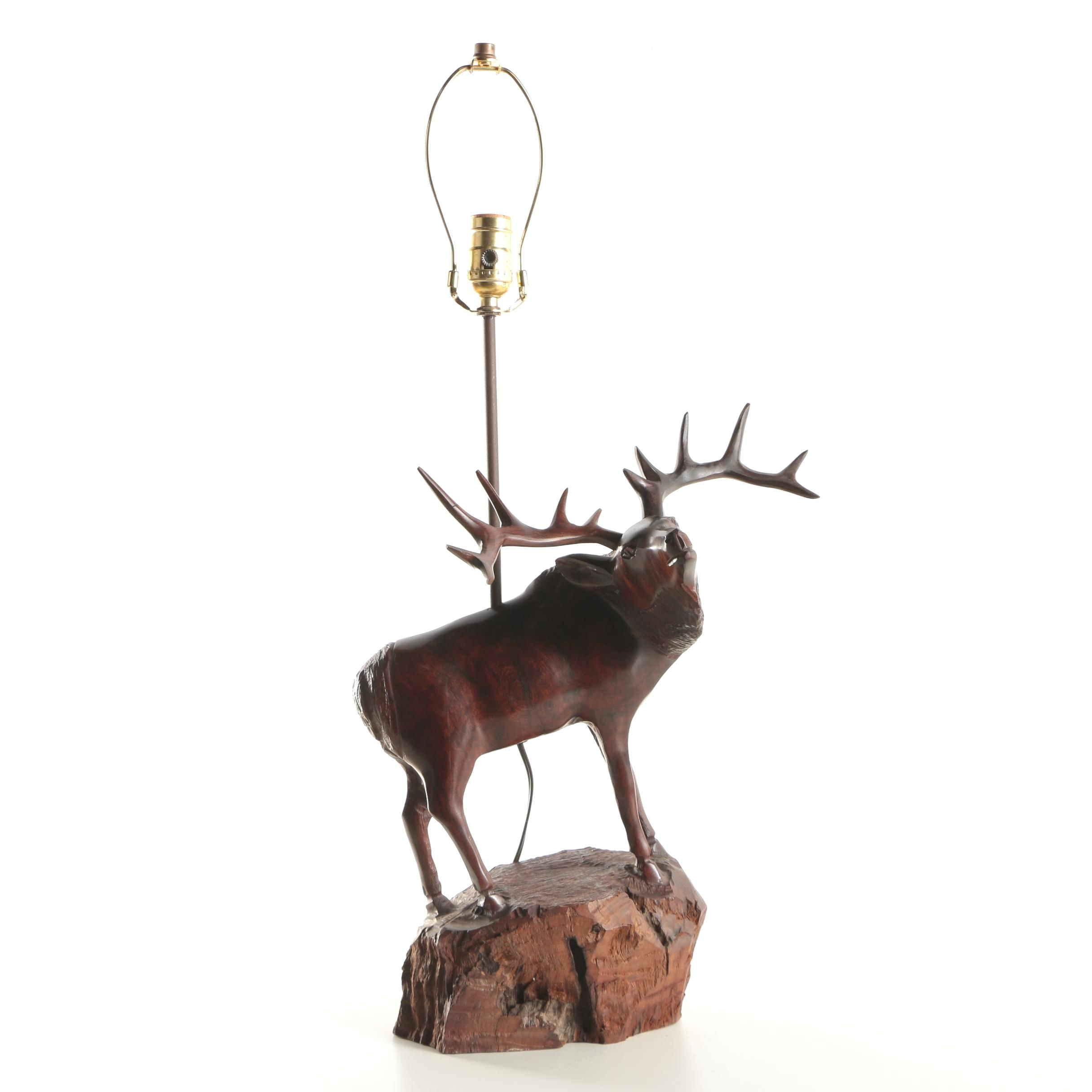 Table Lamp with Carved Wood Elk