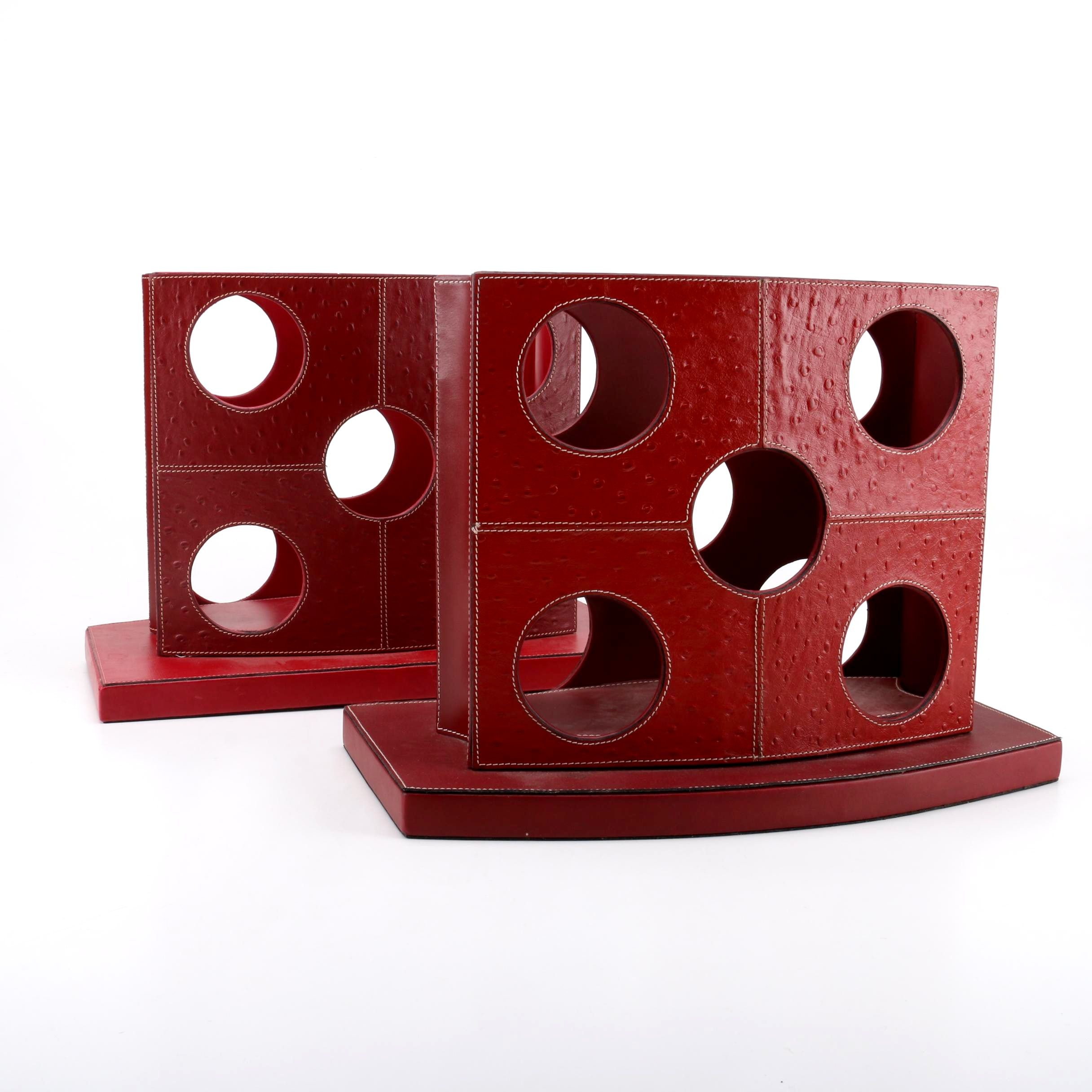 Embossed Leather Wrapped Wine Racks