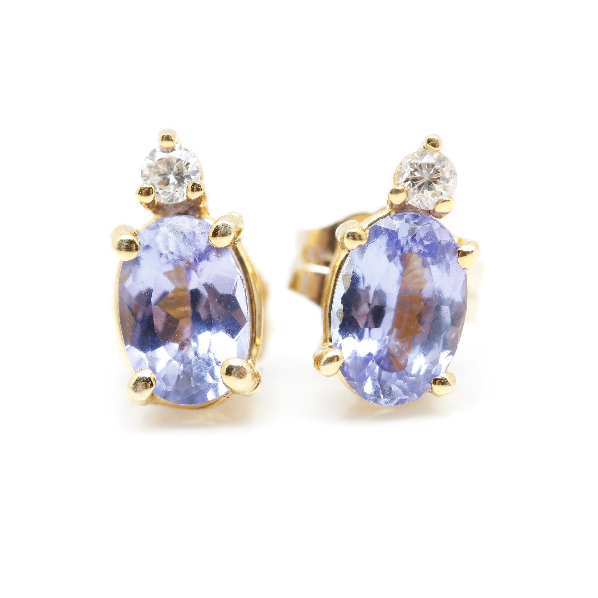 14K Yellow Gold Tanzanite and Diamond Earrings