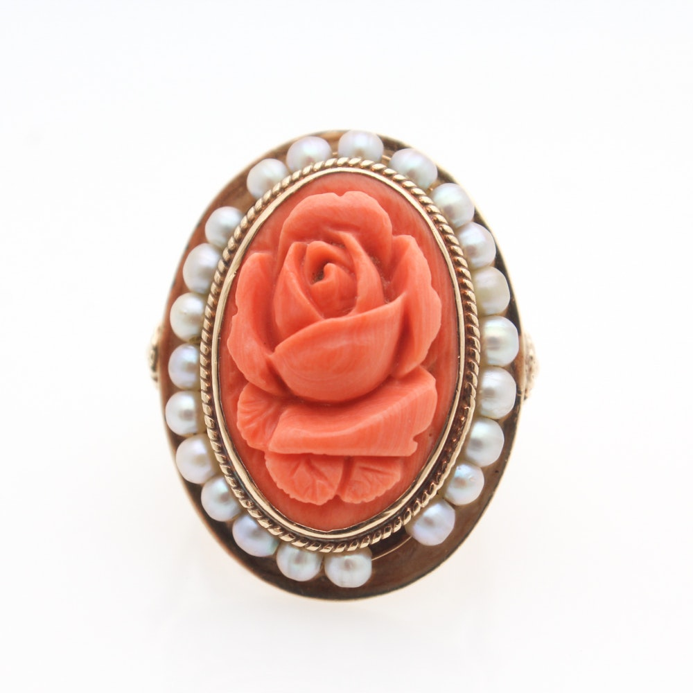 14K Yellow Gold Carved Coral and Pearl Ring