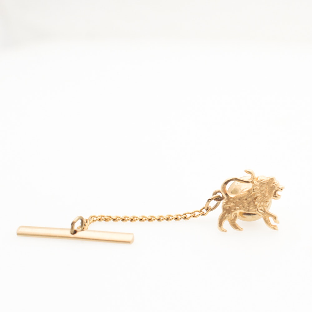 14K Yellow Gold Lion Tie Tack