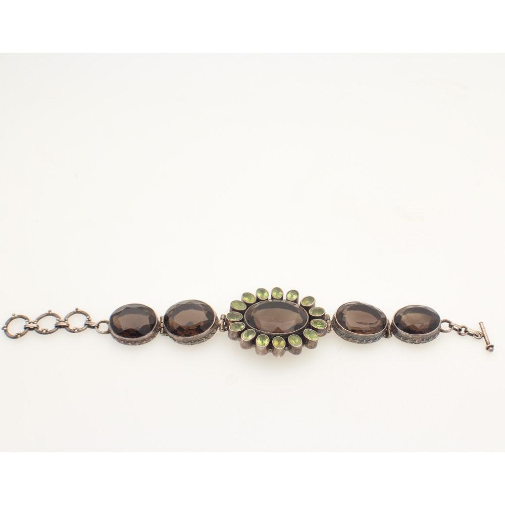 Sterling Silver Smoky Quartz and Peridot Bracelet