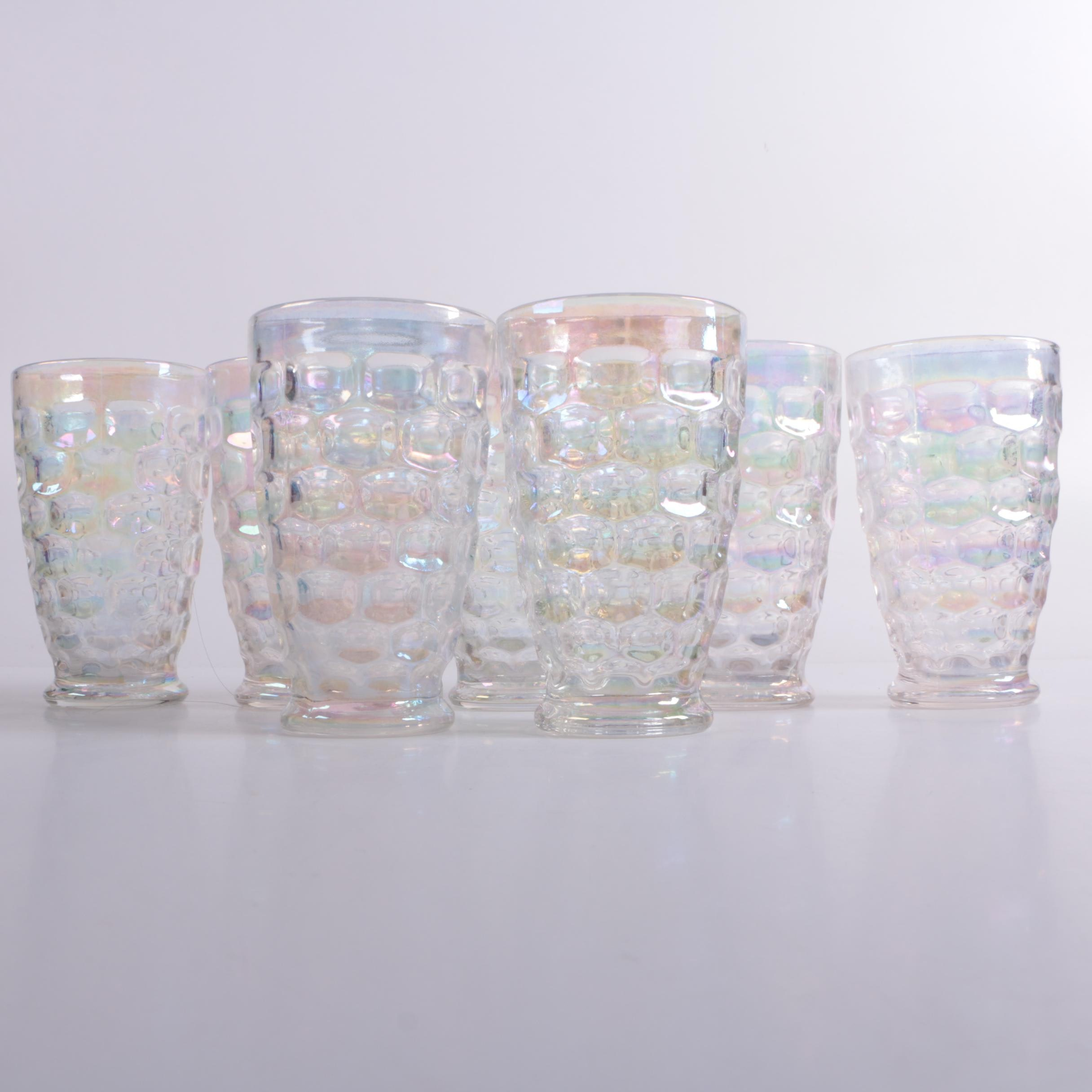 """Federal Glass """"Colonial"""" Iridescent Tumblers, Circa 1960s"""