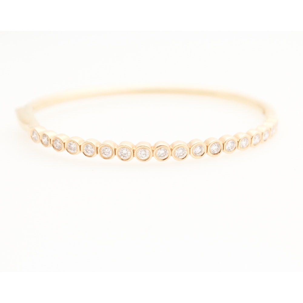 14K Yellow Gold 1.00 CTW Diamond Hinged Bangle