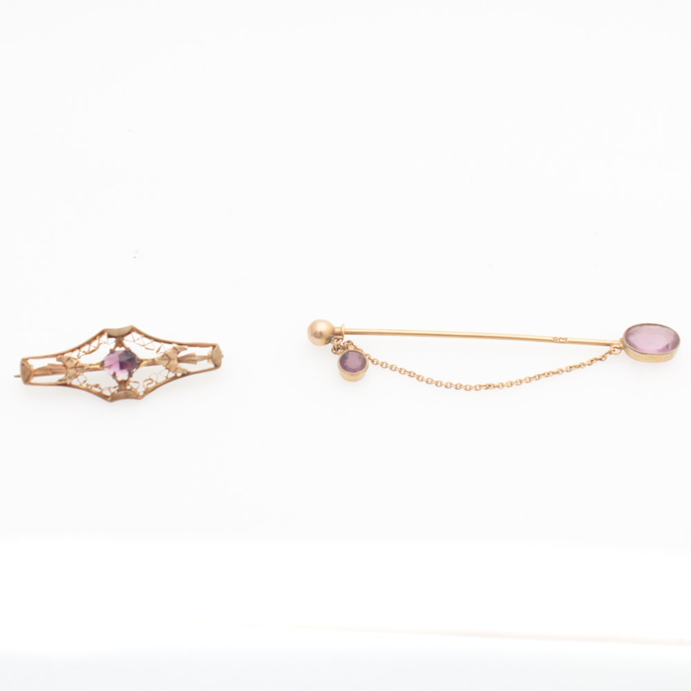 Antique 9K Yellow and Rose Gold Amethyst Jewlery