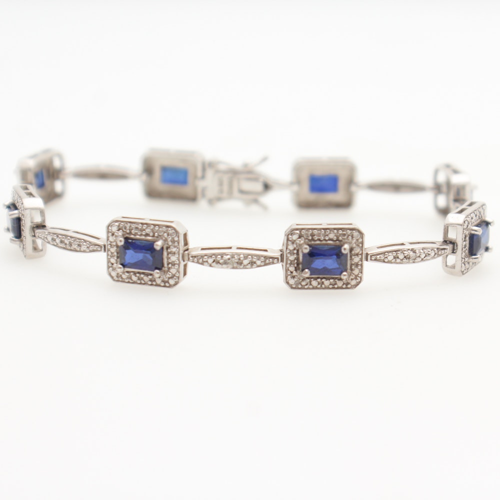 Sterling Silver Diamond Simulated Sapphires Bracelet