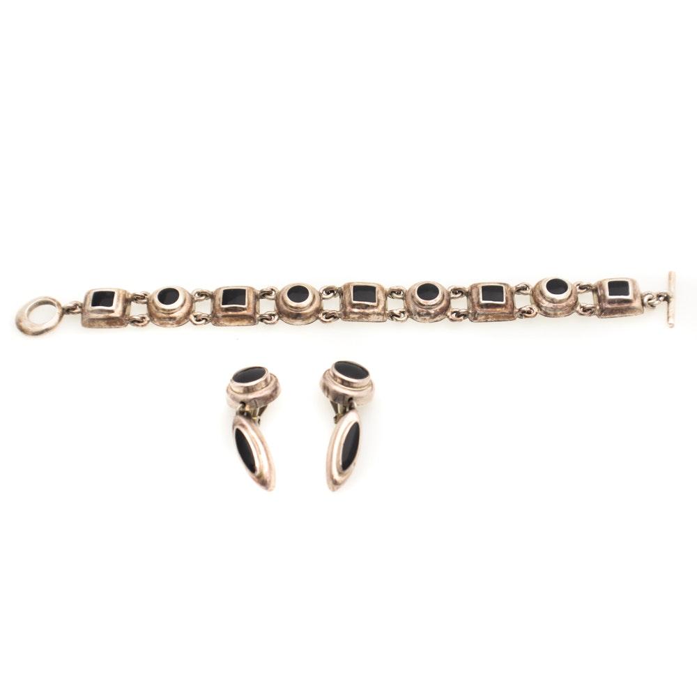 J. Comes Sterling Silver Onyx Bracelet and Earrings Set