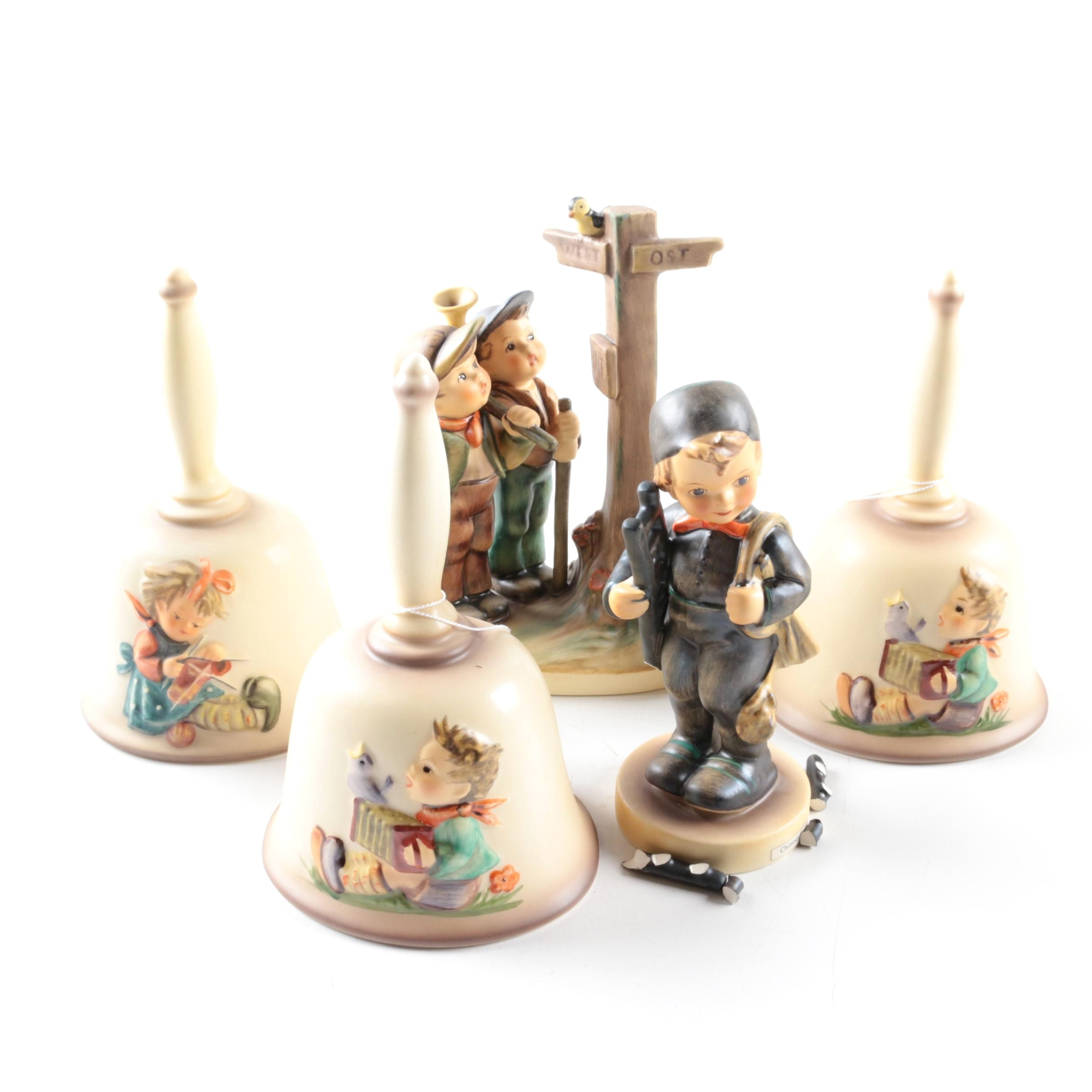 """Collection of Hummel Figurines Including """"Crossroads"""" and Bells"""
