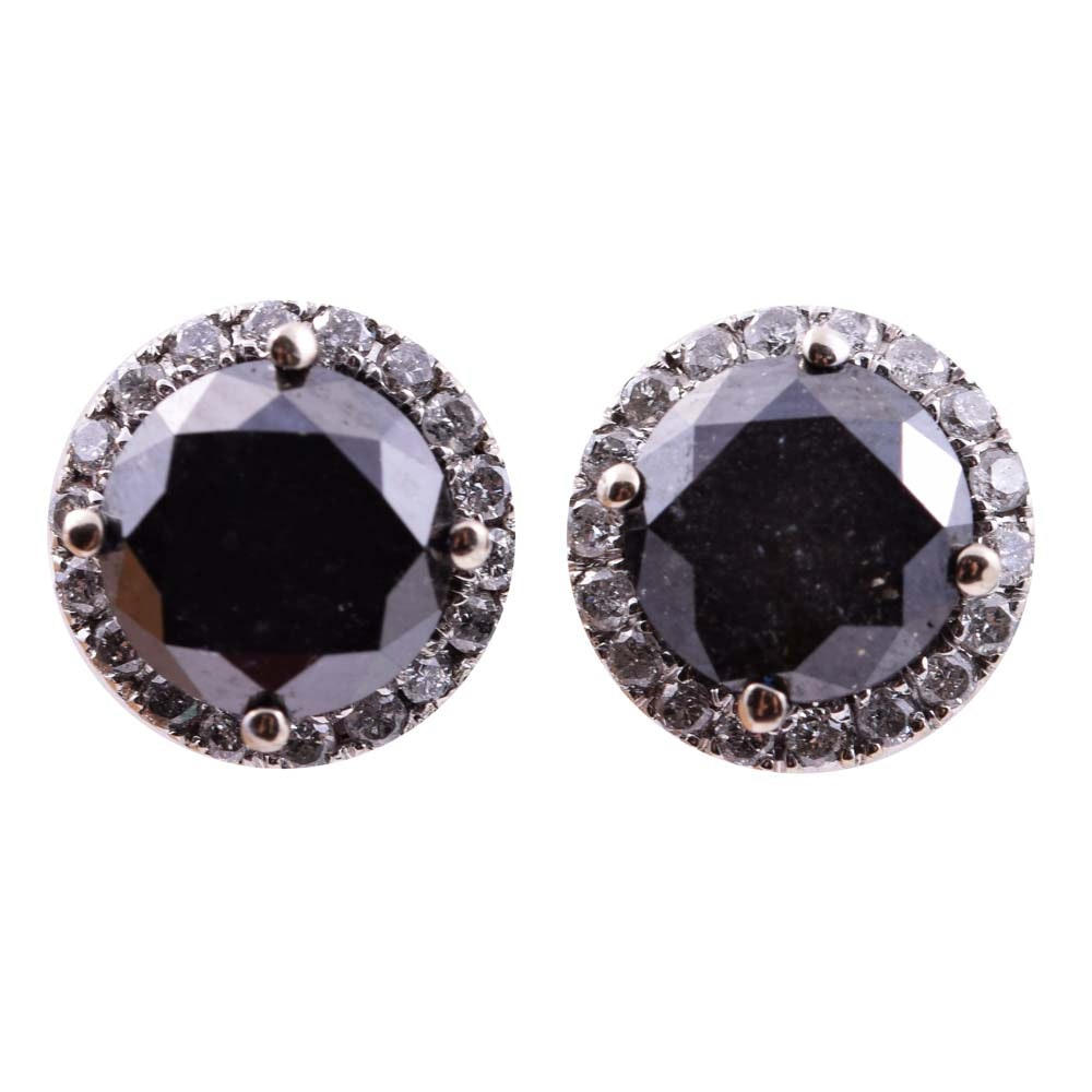 14K White Gold and Black Diamond Halo Earrings