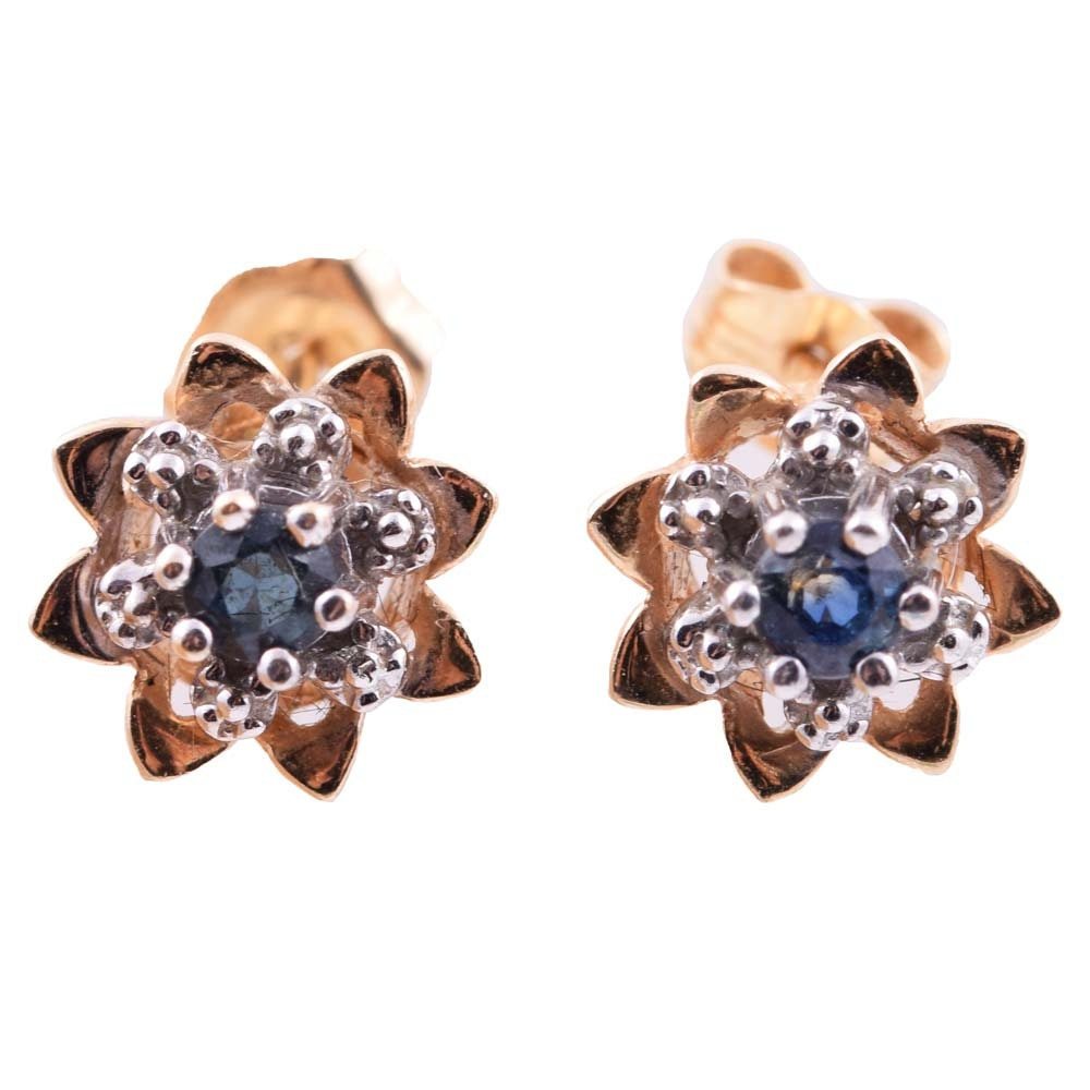 14K Yellow and White Gold and Sapphire Flower Earrings