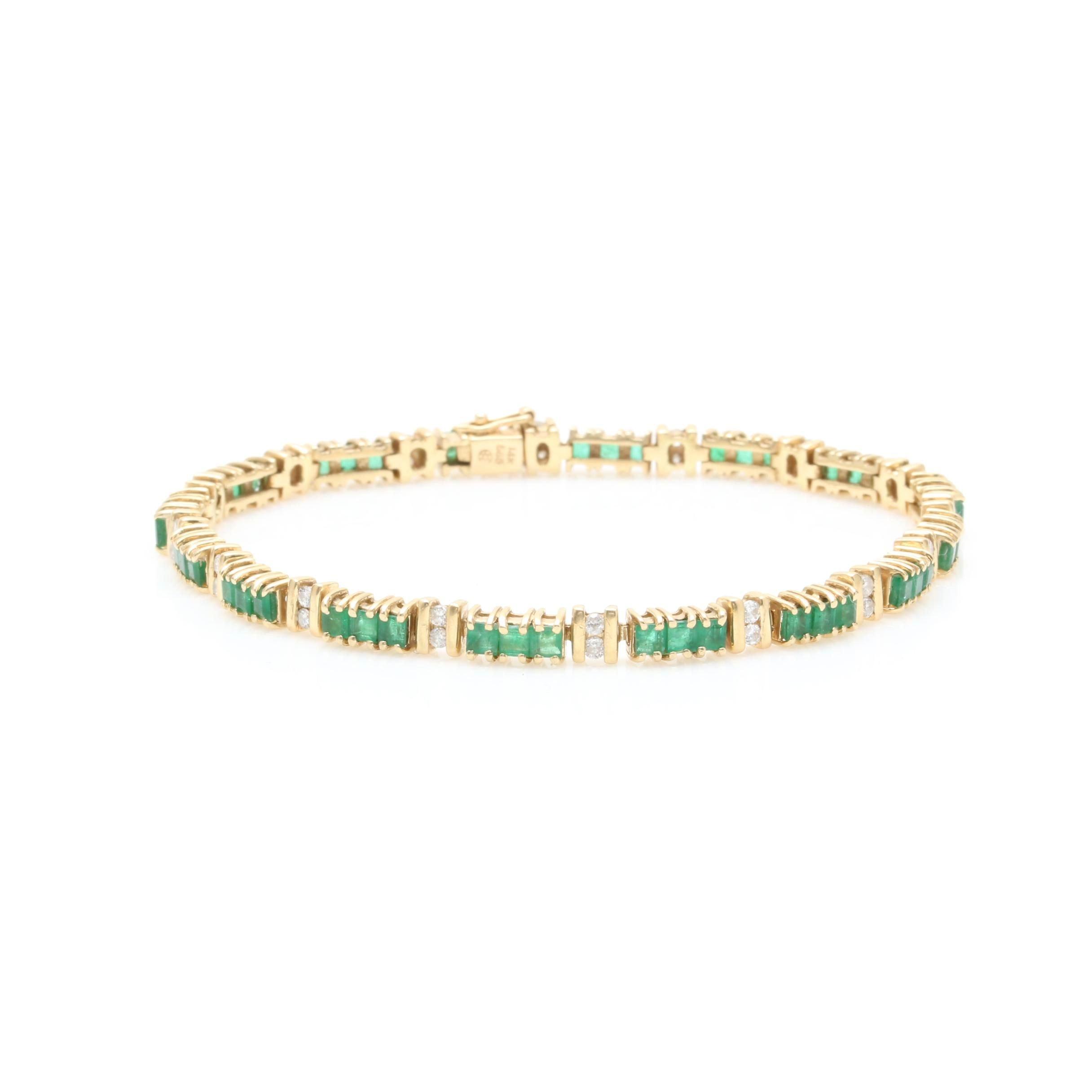14K Yellow Gold Emerald and Diamond Tennis Bracelet