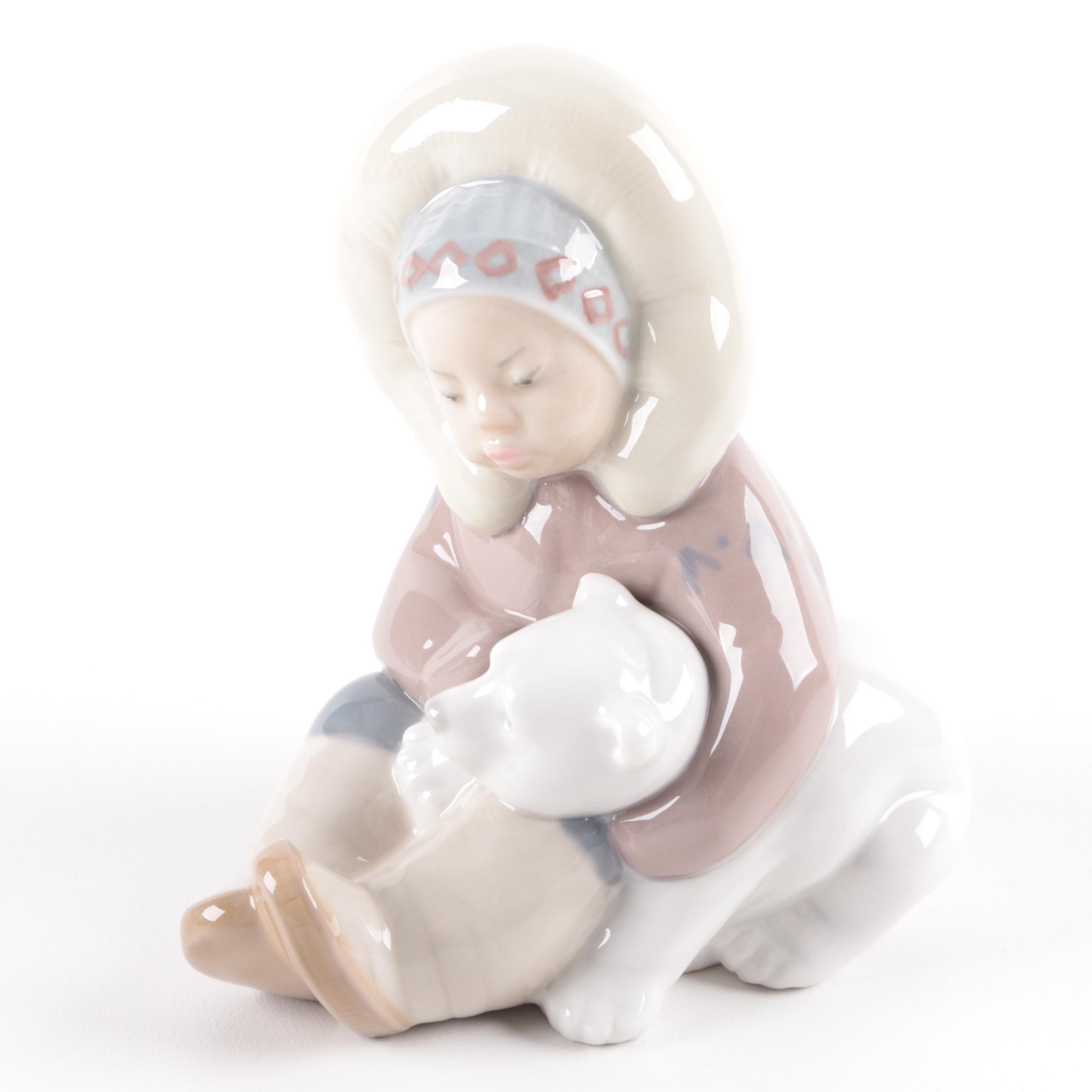 "Lladró ""Eskimo Girl with Polar Bear"" Figurine"