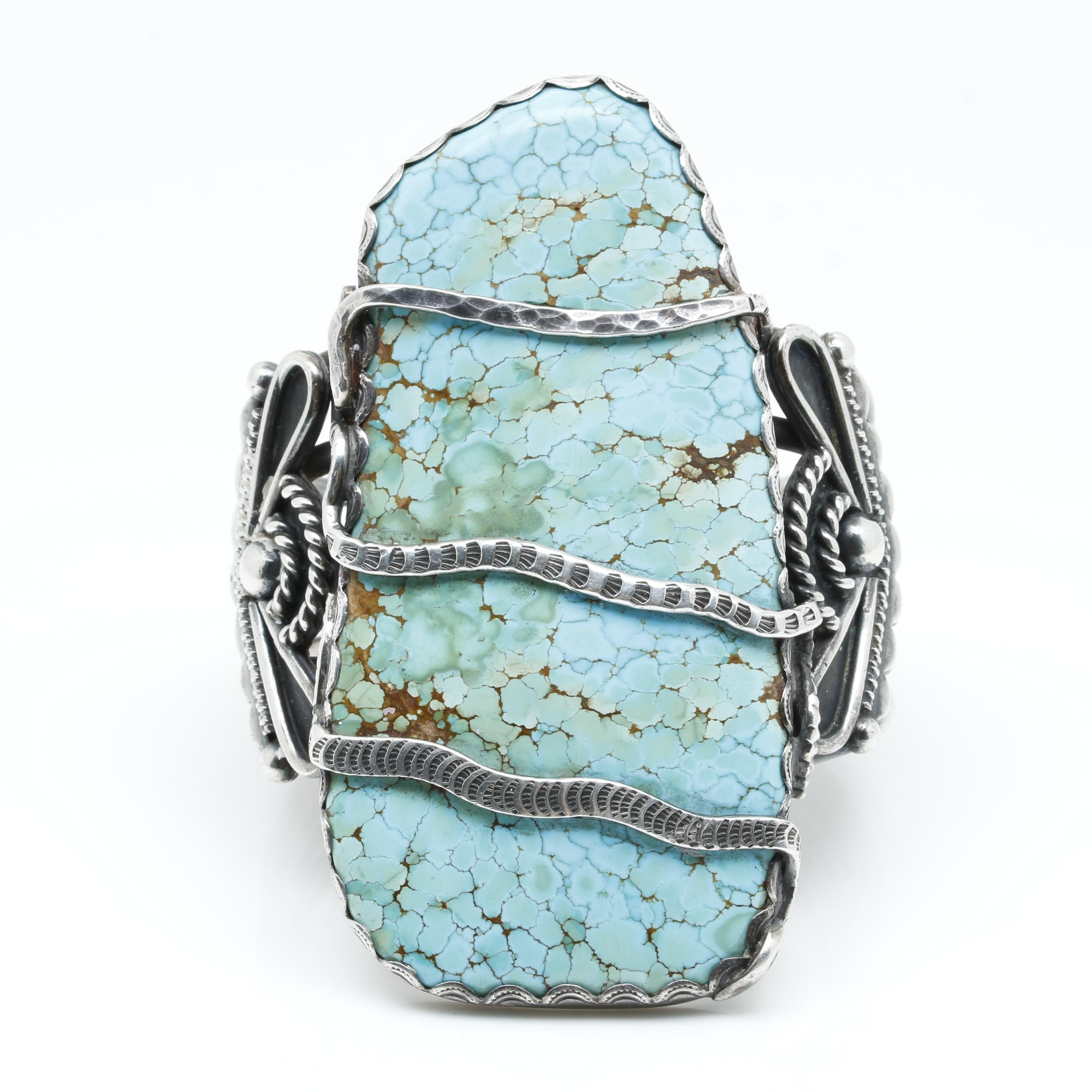Sterling Silver Southwest Style Turquoise Cuff Bracelet