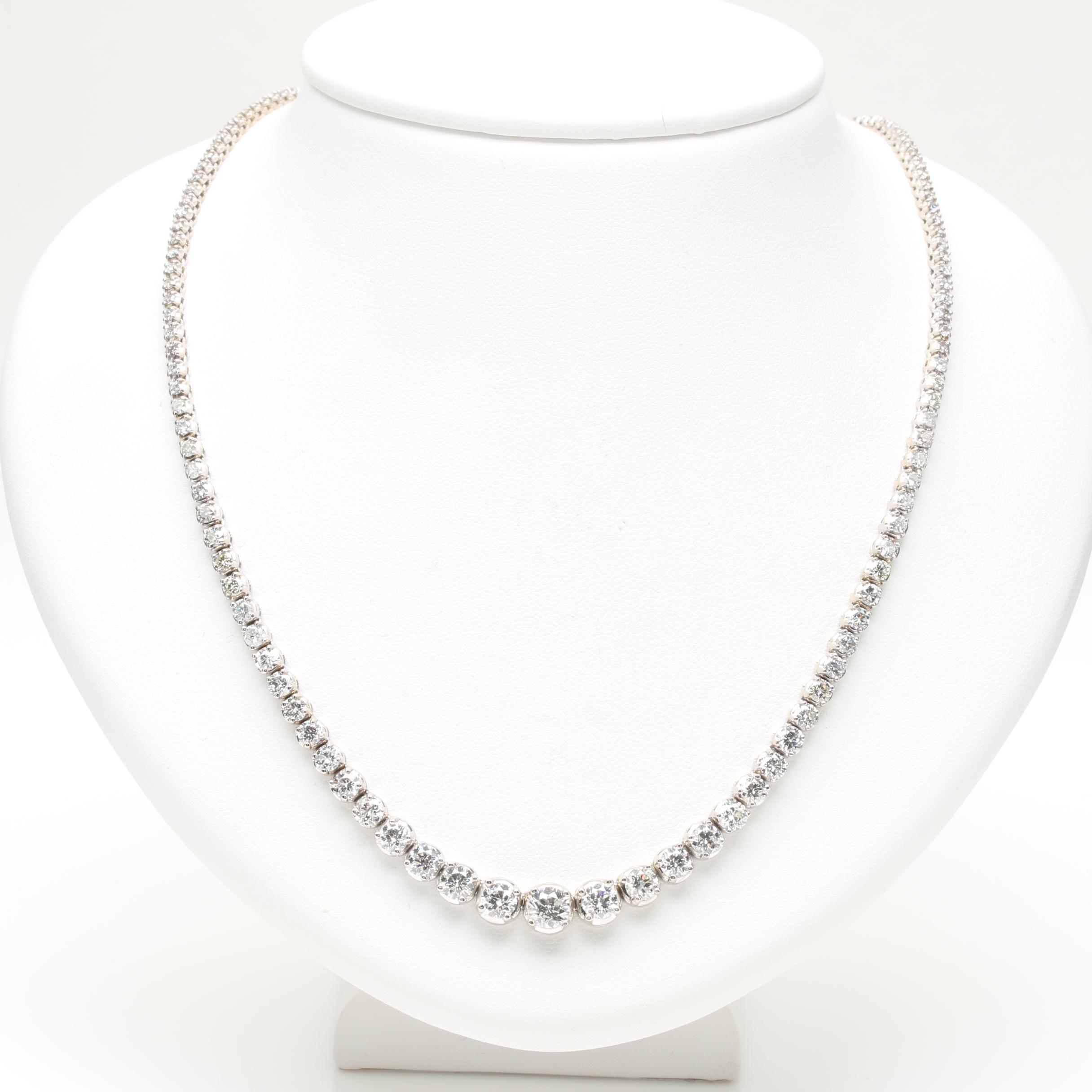 14K White Gold 11.27 CTW Diamond Riviera Necklace