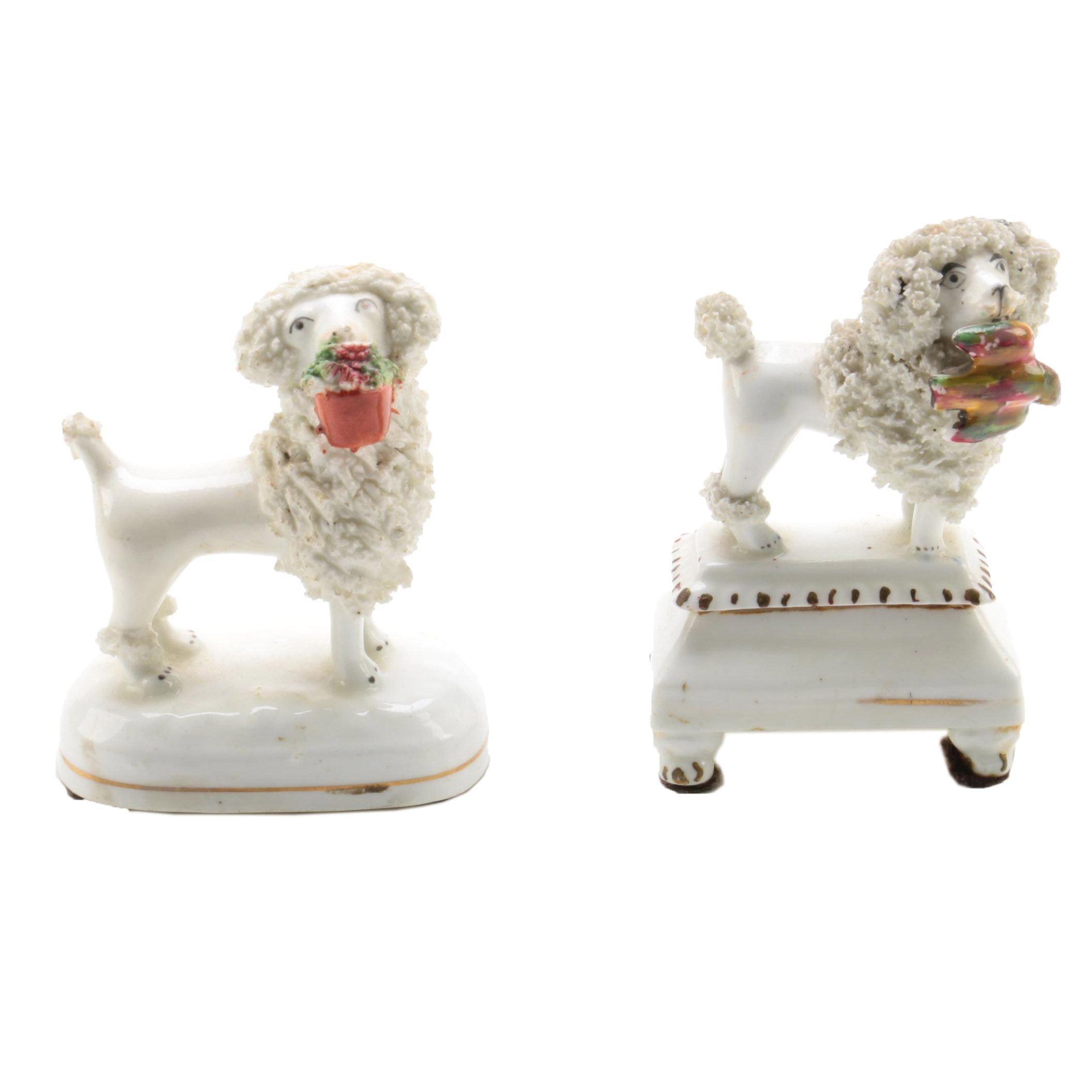 Antique Staffordshire Poodle Figurines