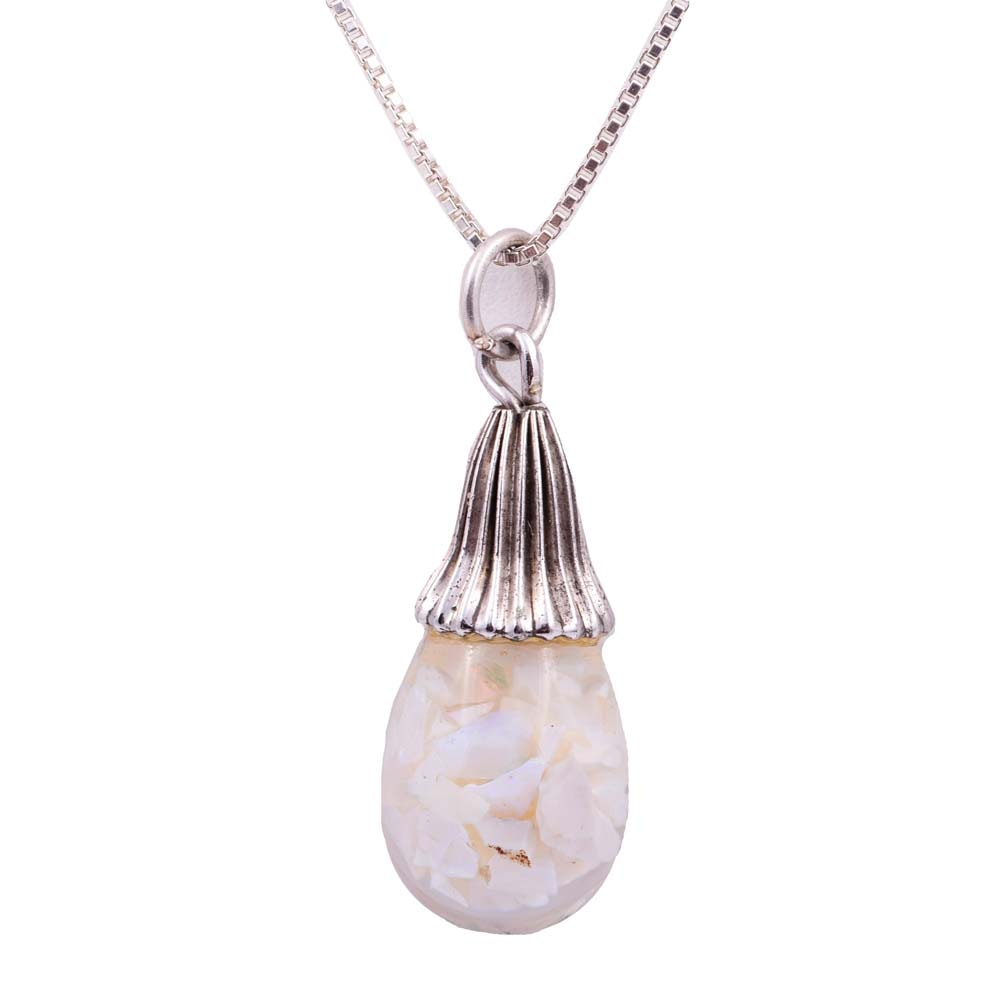 Sterling Silver and Floating Opal Chip Pendant Necklace