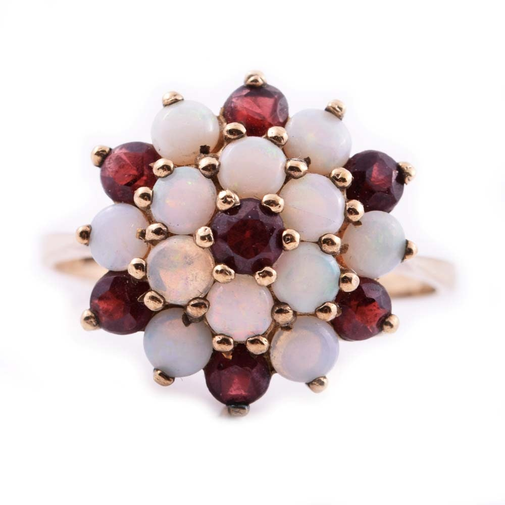 9K Yellow Gold, Opal, and Garnet Cluster Ring
