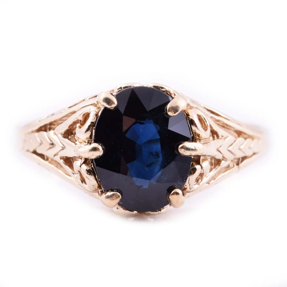 14K Yellow Gold and 2.03 CT Sapphire Ring