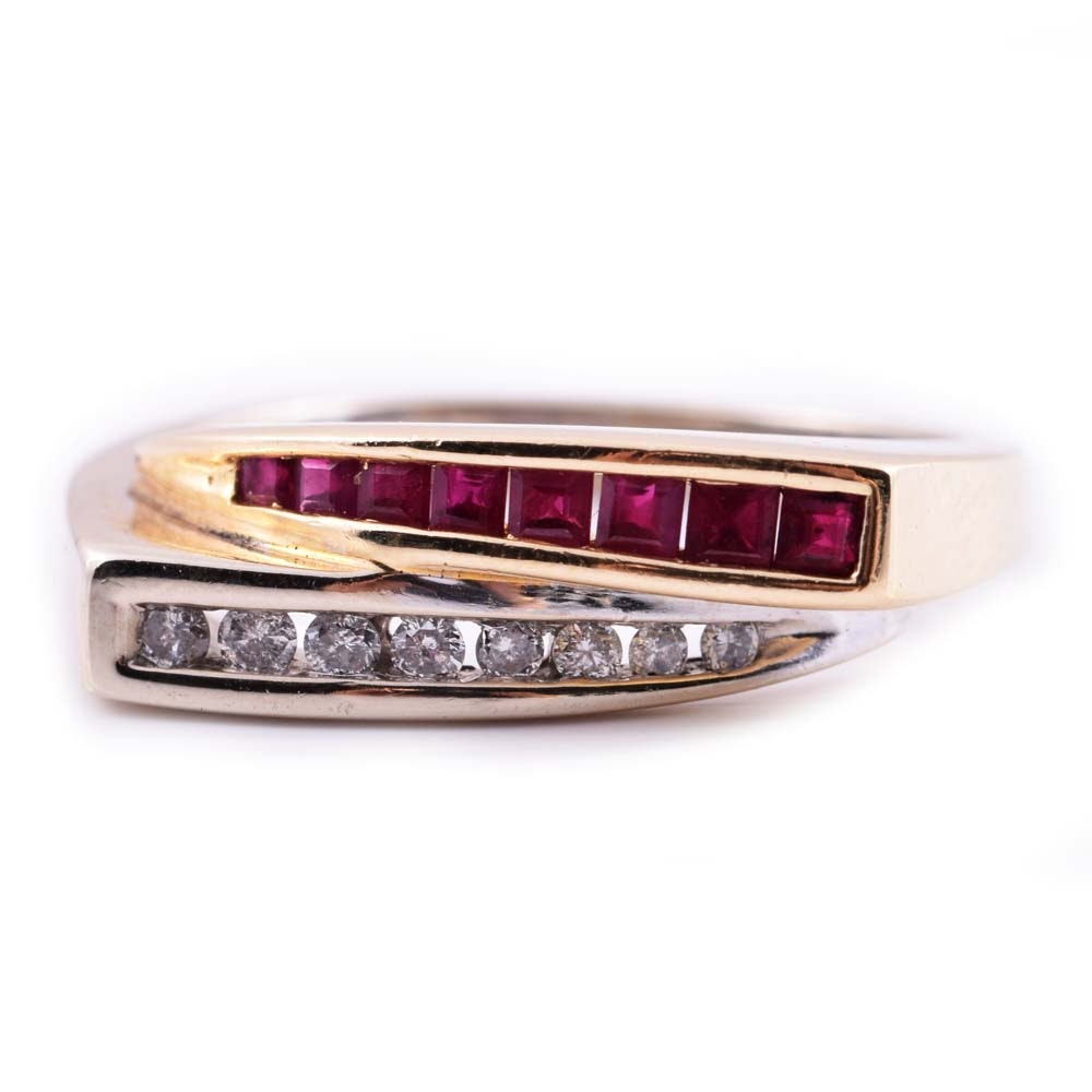 14K White and Yellow Gold, Diamond, and Ruby Ring