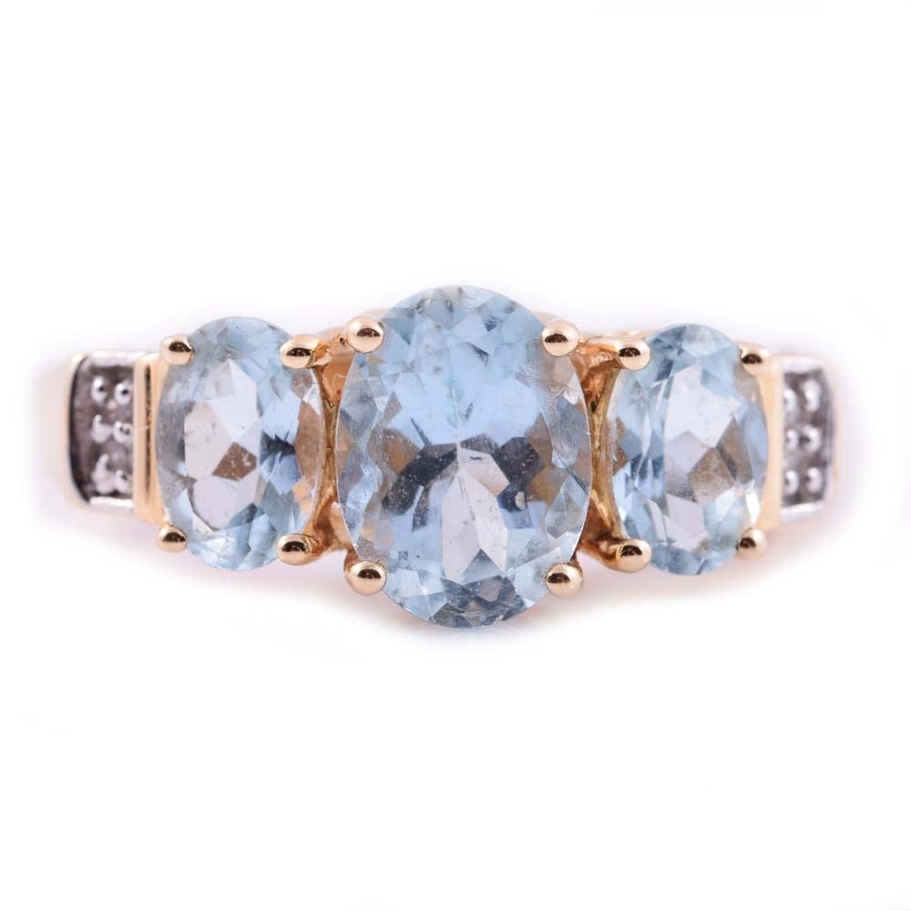 14K Yellow Gold, Aquamarine, and Diamond Ring