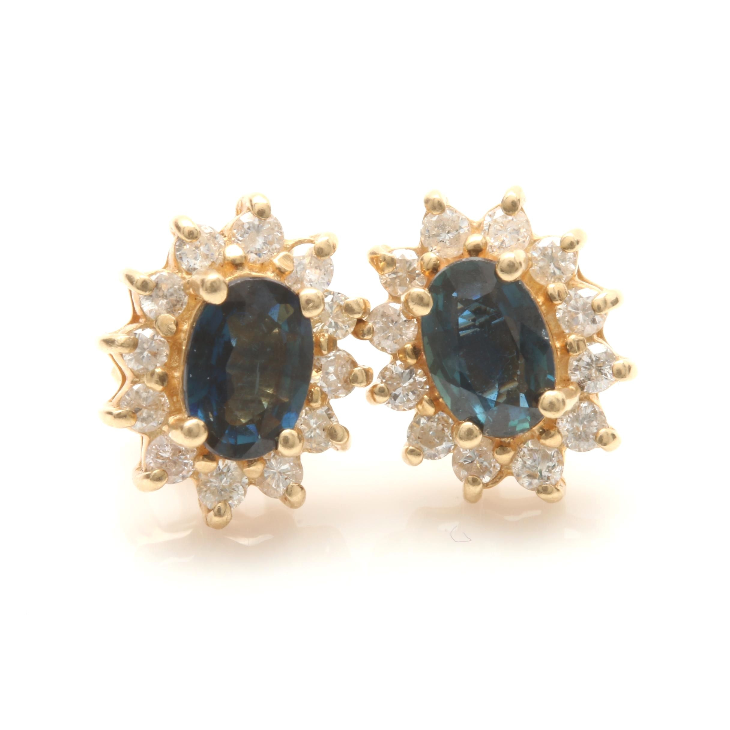 14K Yellow Gold Blue Sapphire and Diamond Halo Earrings