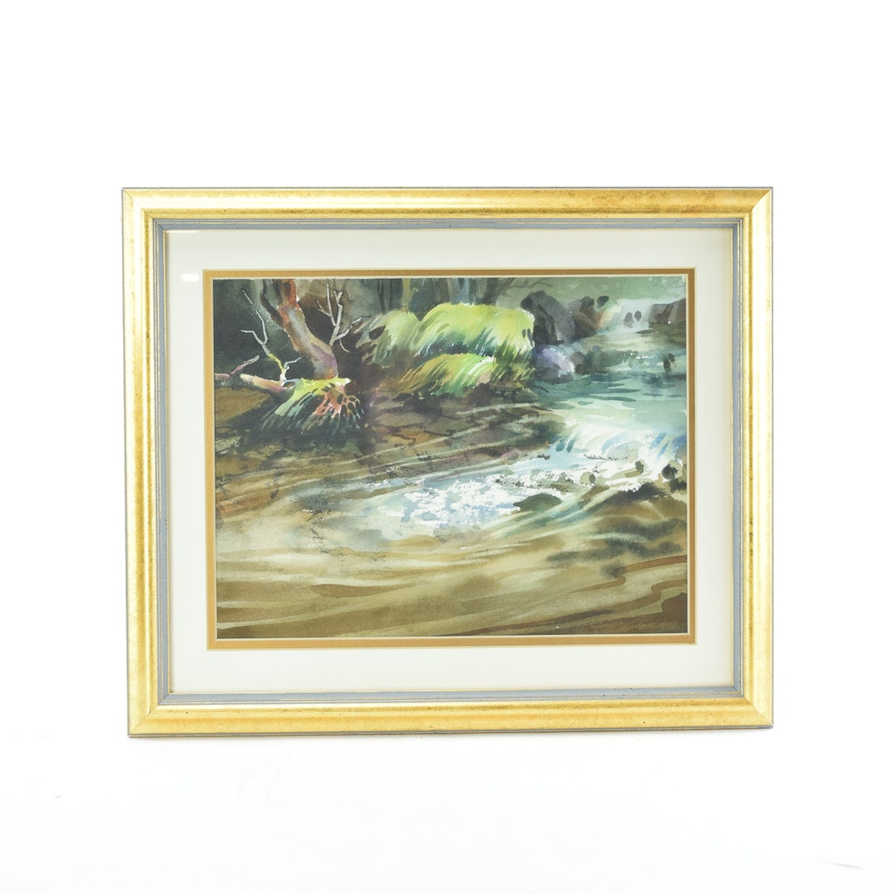 "1988 Watercolor Painting Zoltan Szabo ""Bubbling Brook"""
