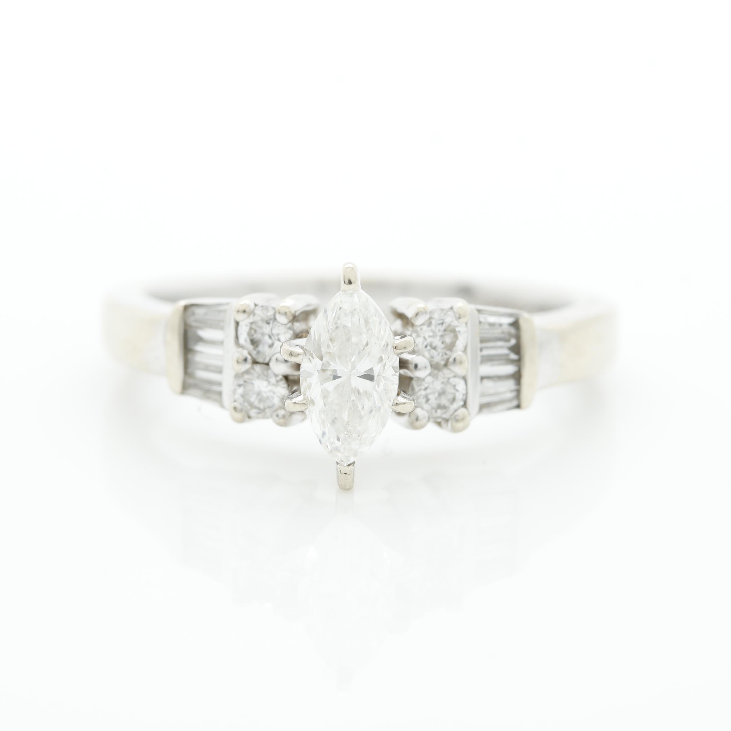 14K White Gold 0.84 CTW Diamond Ring