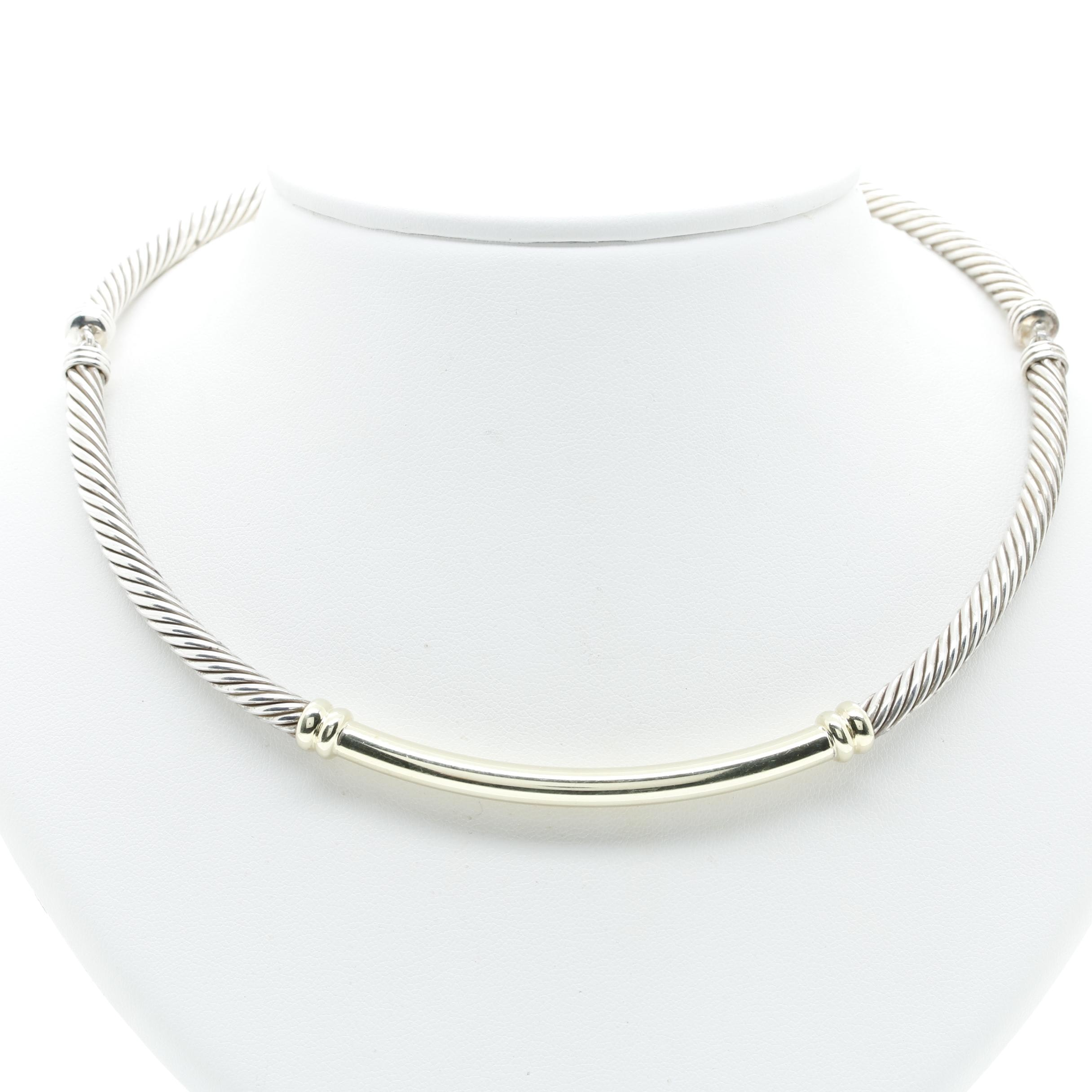 David Yurman Sterling Silver and 14K Yellow Gold Cable Station Choker Necklace