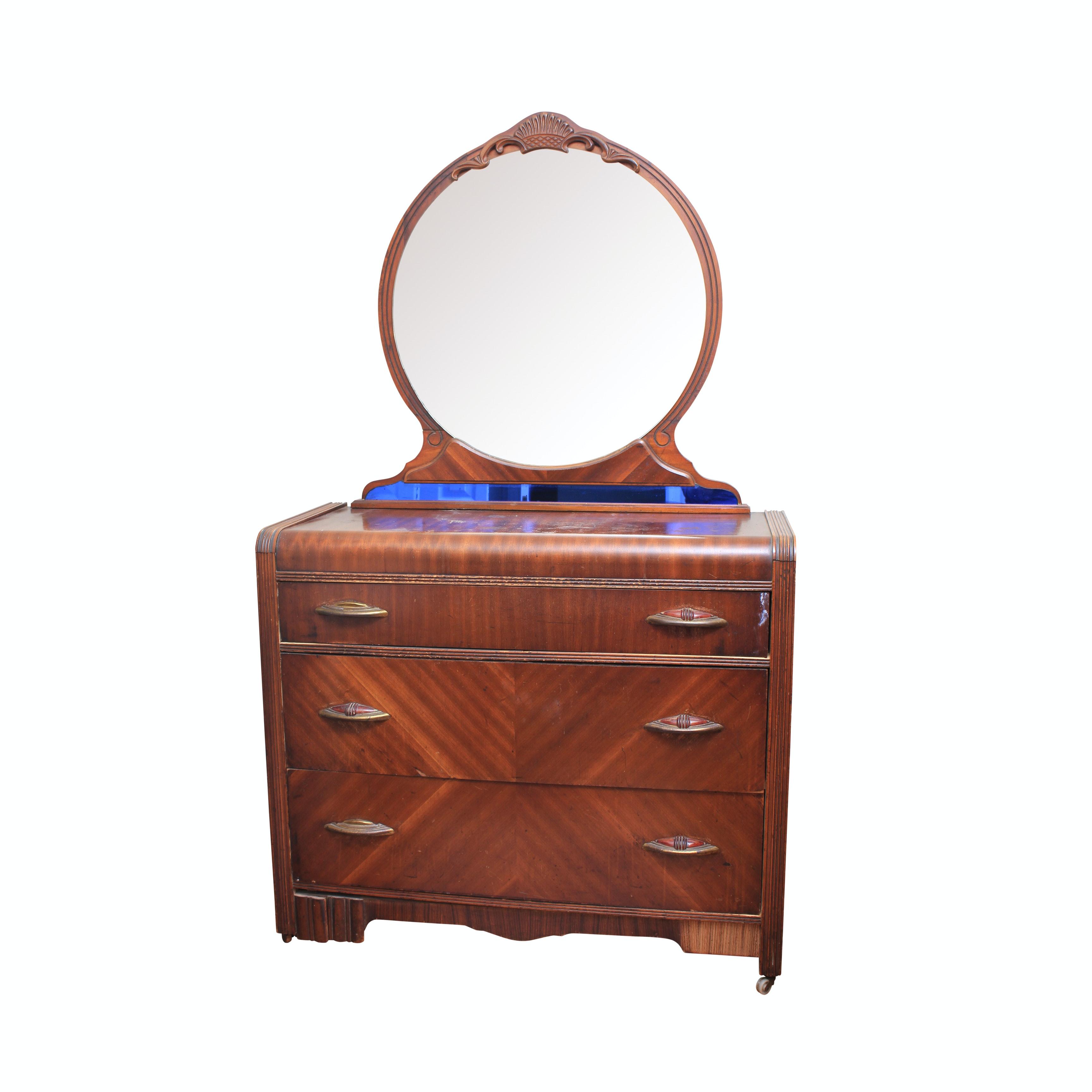 Vintage Art Deco Dresser with Mirror