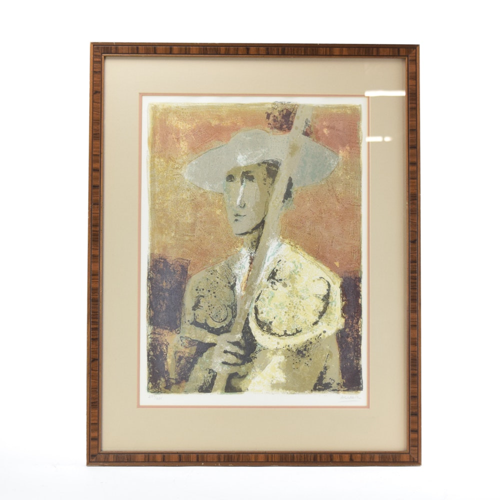 "Alvar Munoz-Ramos Limited Edition Lithograph ""Musician"""