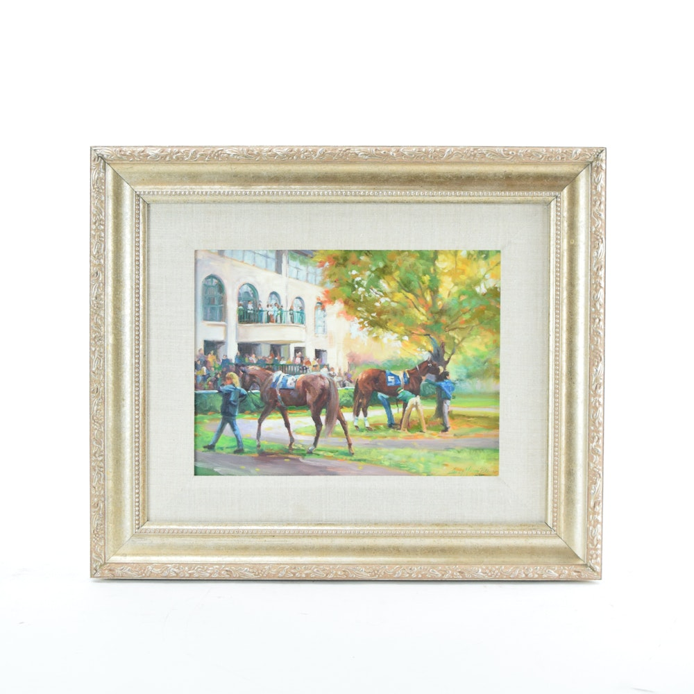 "Sandy Nelson Perrine Oil Painting ""Autumn Meet - Keeneland"""