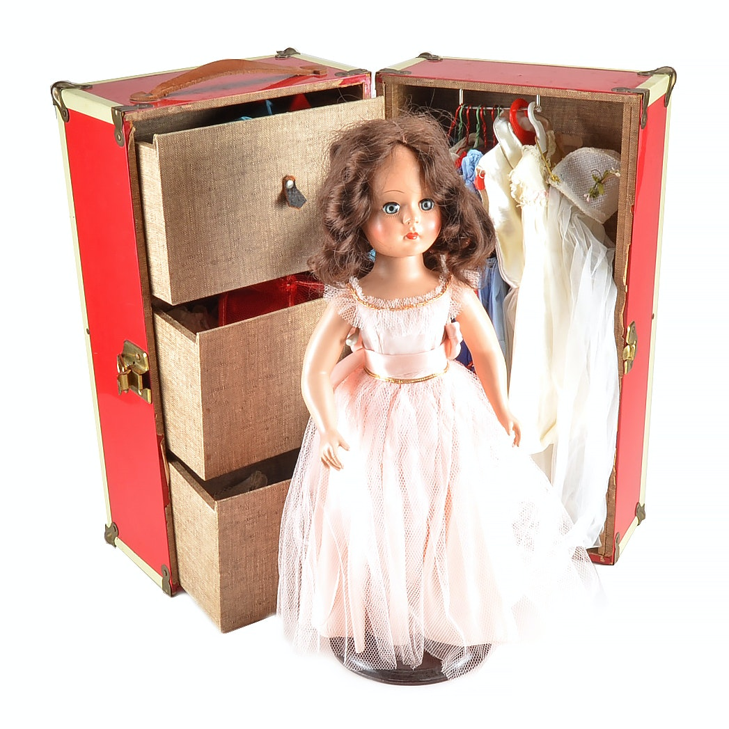 Vintage Madame Alexander-style Doll with Footlocker Chest