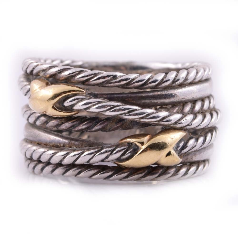David Yurman Sterling Silver and 18K Yellow Gold Cable Ring