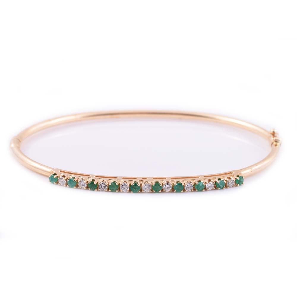 14K Yellow Gold, Emerald, and Diamond Bangle Bracelet