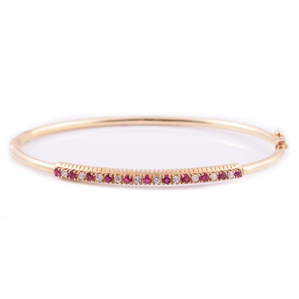 14K Yellow Gold, Ruby, and Diamond Bangle Bracelet