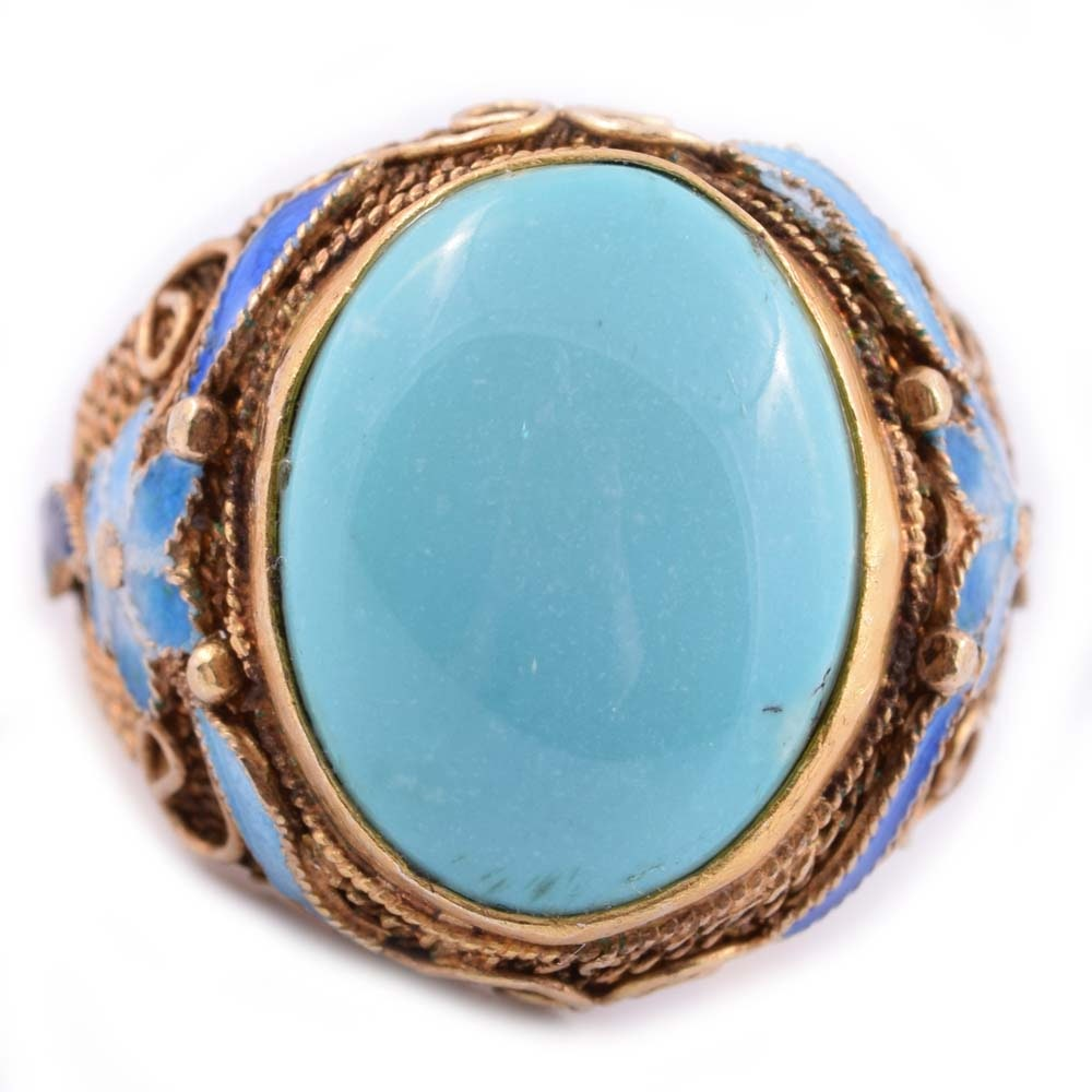 Gold Wash on Sterling Silver, Turquoise, and Enamel Ring