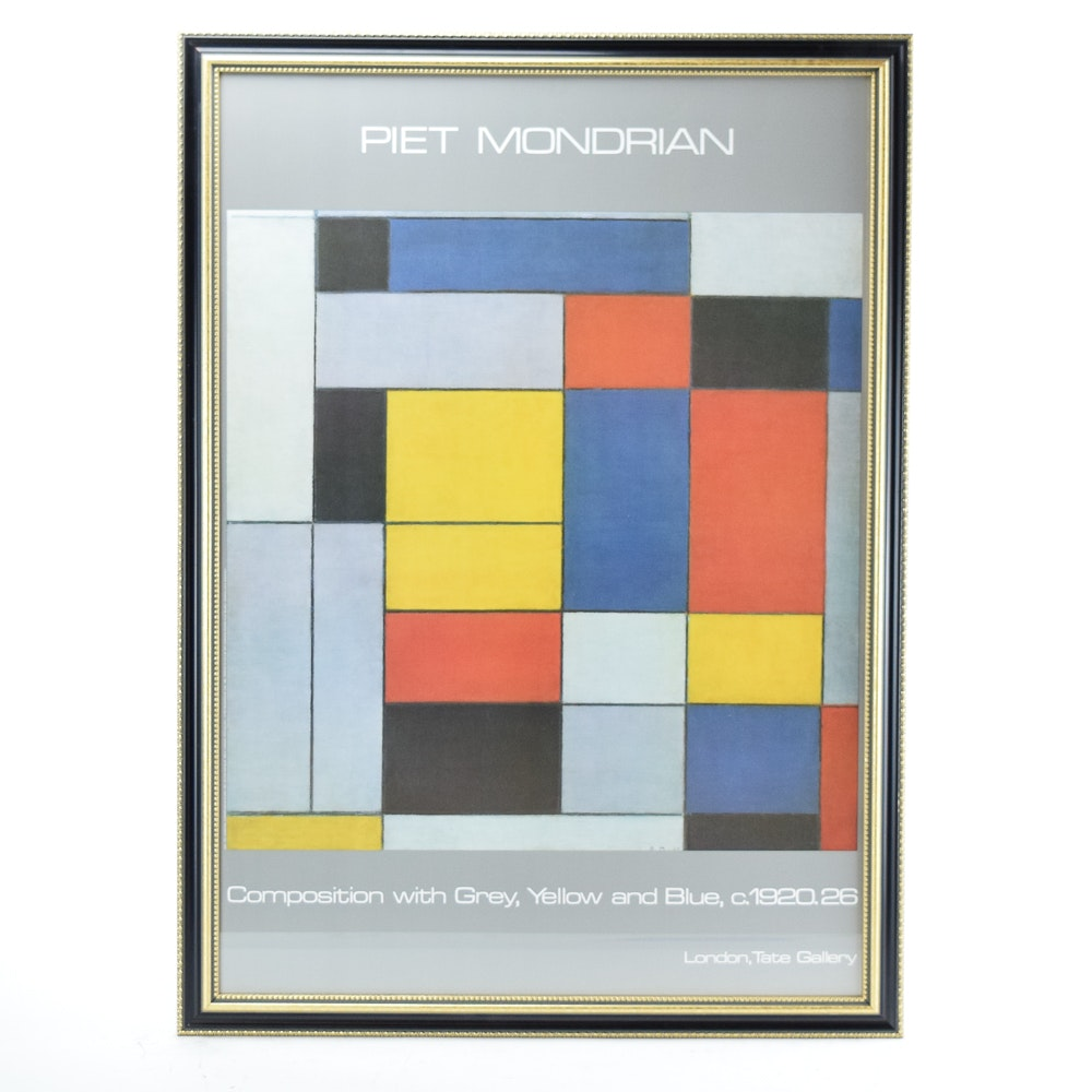 "Offset Lithograph Gallery Poster After Piet Mondrian ""No. VI/Composition No. II"""