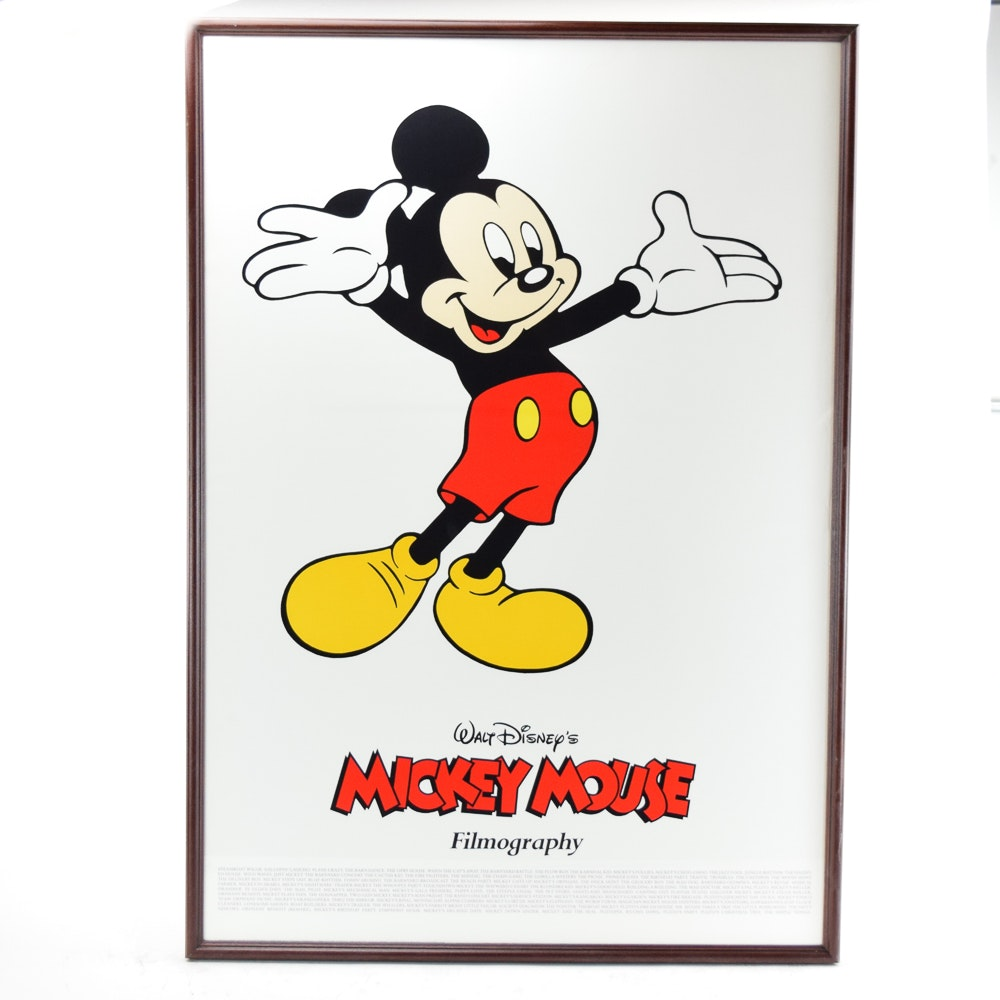 "1980s Offset Lithograph Poster ""Walt Disney's Mickey Mouse Filmography"""