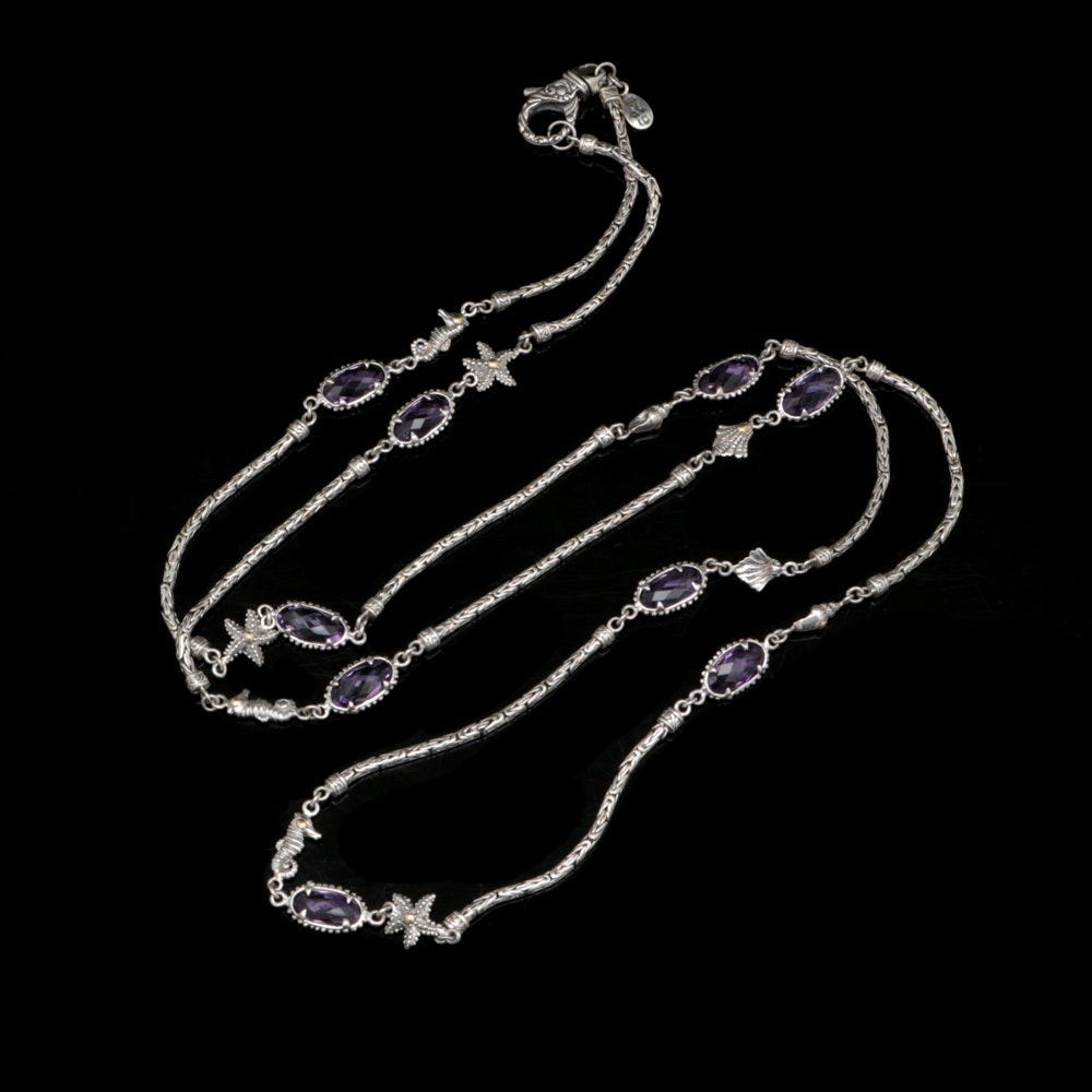 Robert Manse Sterling Silver, 18K Yellow Gold and Amethyst Sea Life Necklace