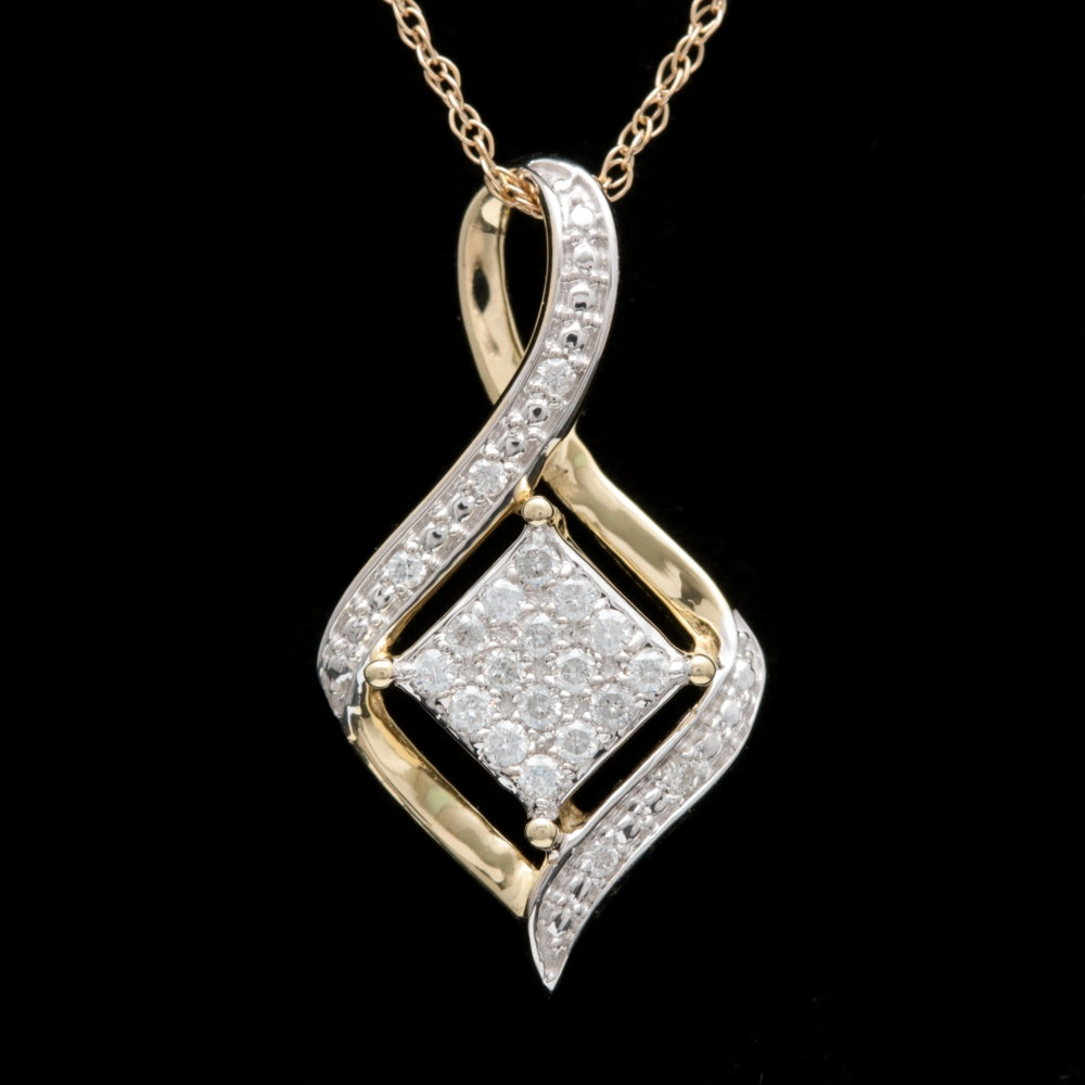 10K Two-Tone Gold and Diamond Pendant with Chain