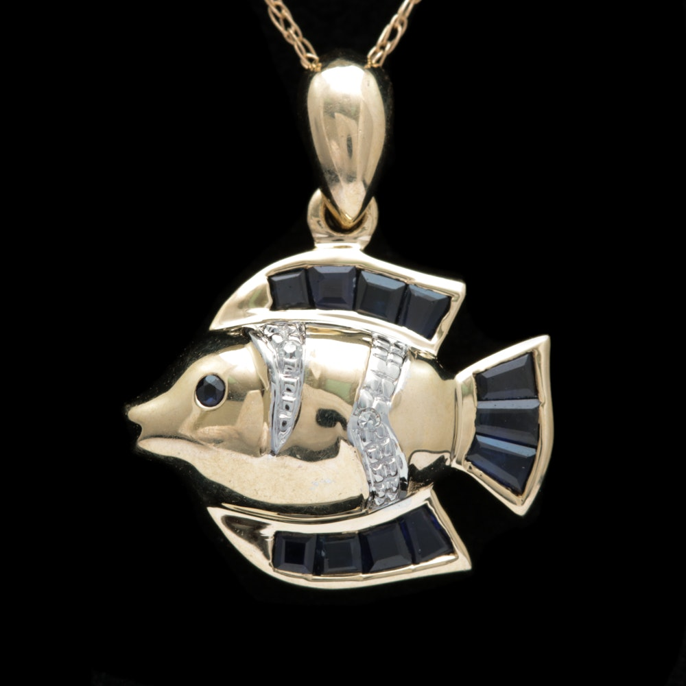 10K Yellow Gold, Blue Sapphire and Diamond Fish Pendant with Chain
